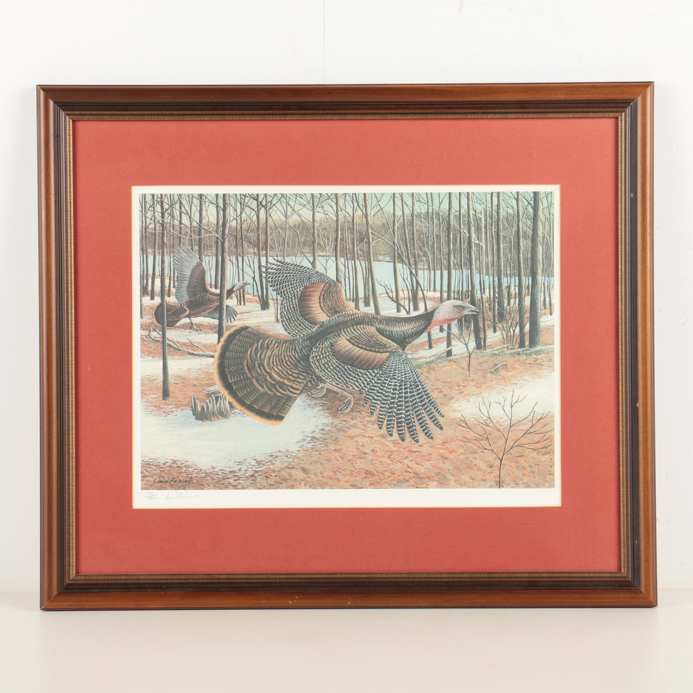 Louis Frisino Limited Edition Reproduction Print of Wild Turkeys