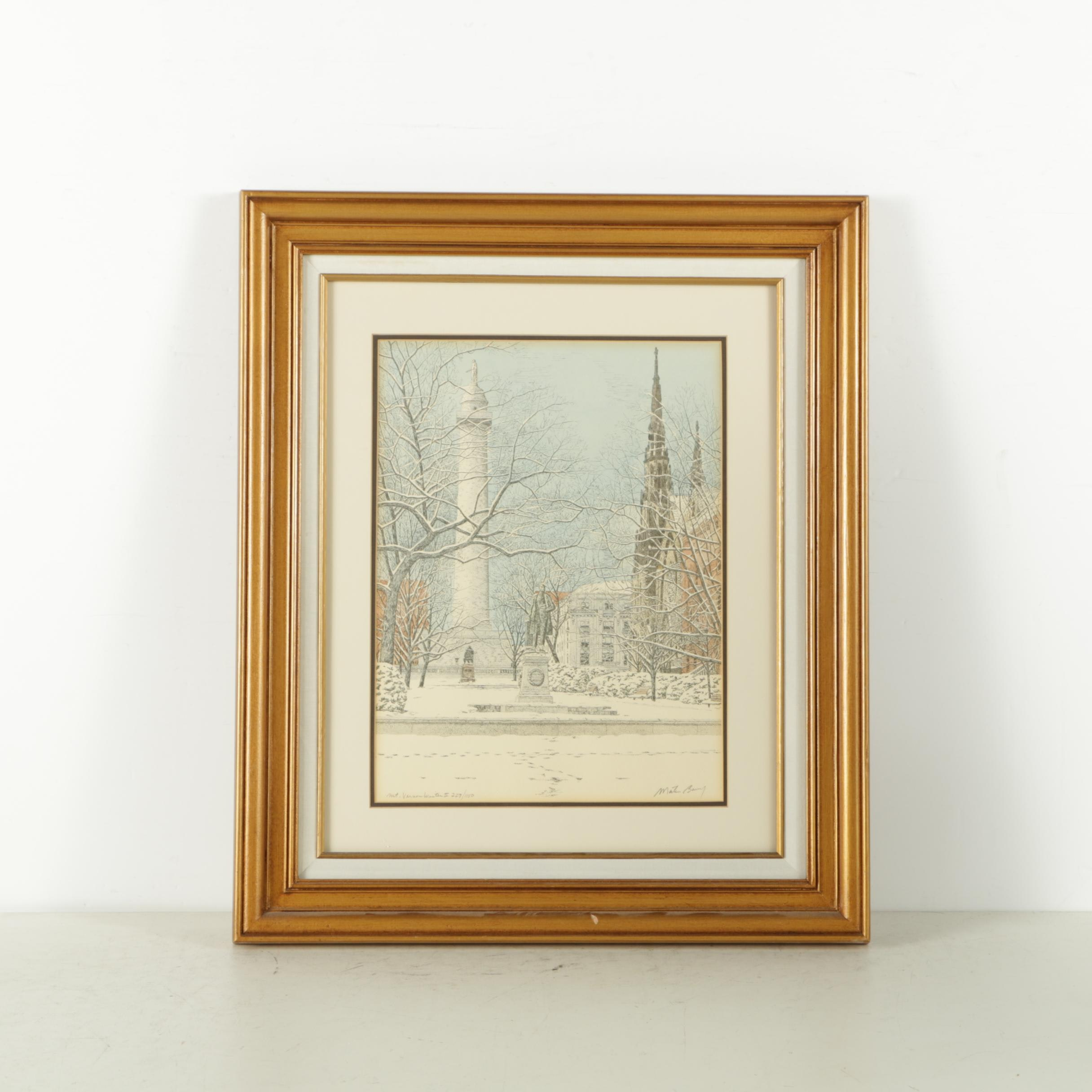 """Hand Colored Limited Edition Lithograph """"Mt. Vernon Winter II"""""""