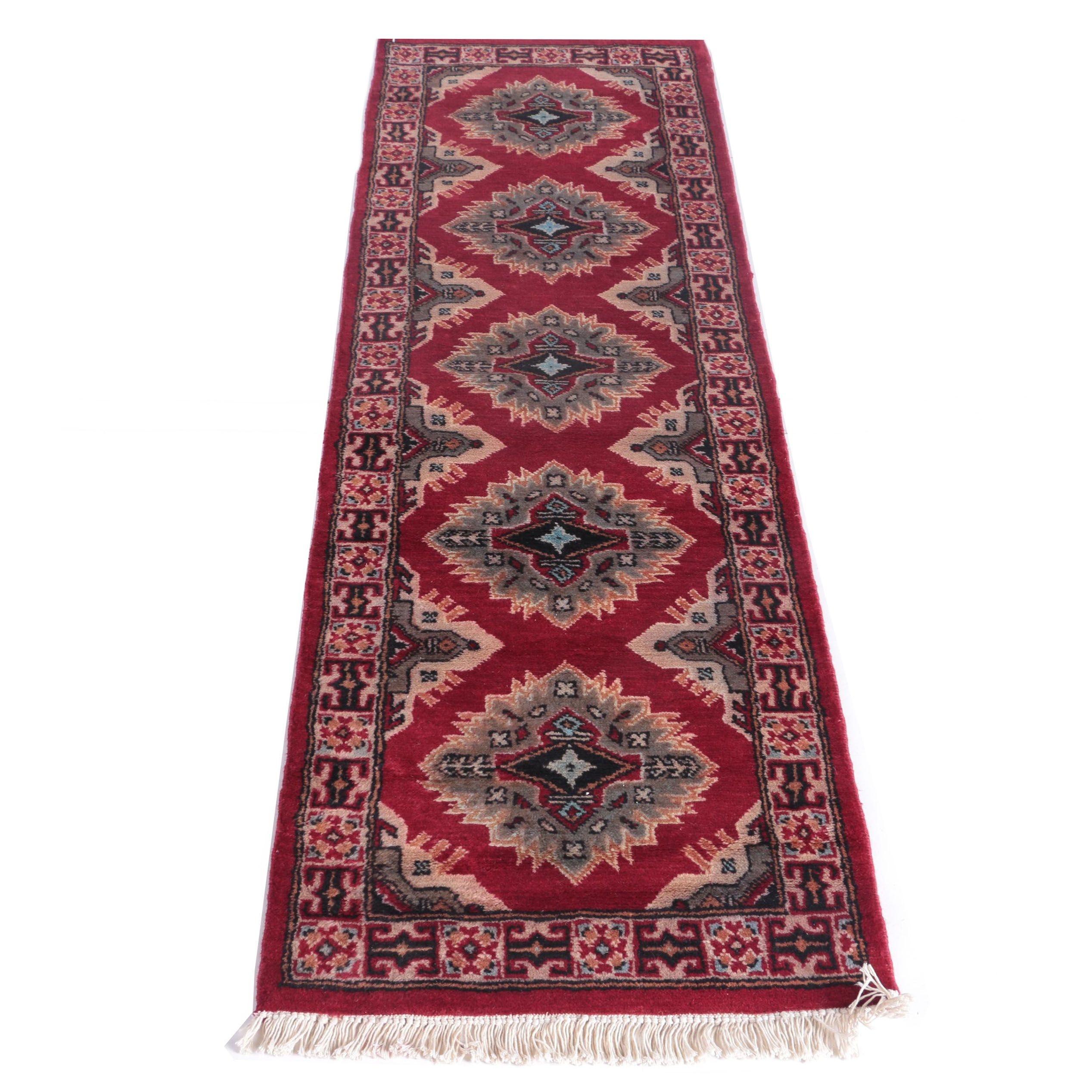 Hand-Knotted Indo-Kazak Carpet Runner