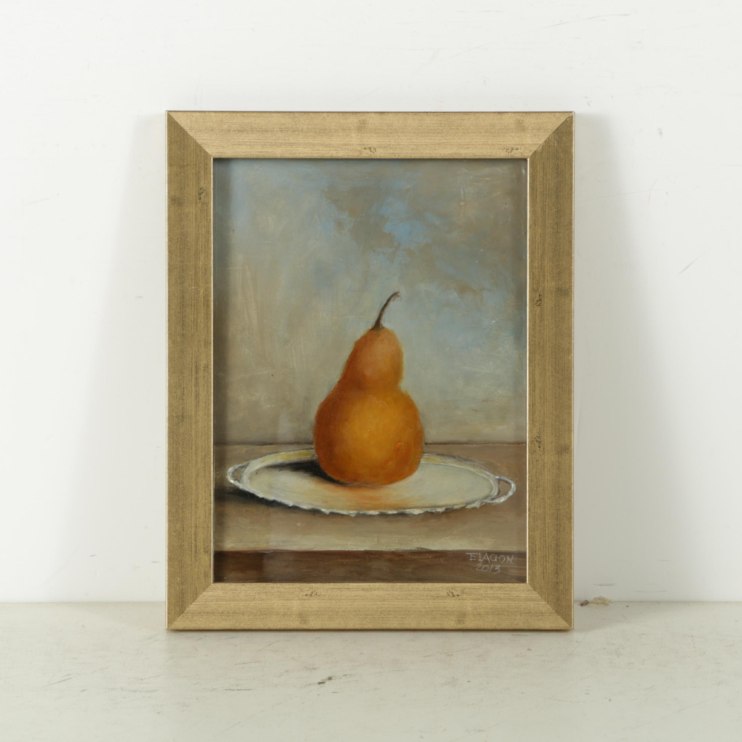 Elacion Oil Painting on Board of a Pear