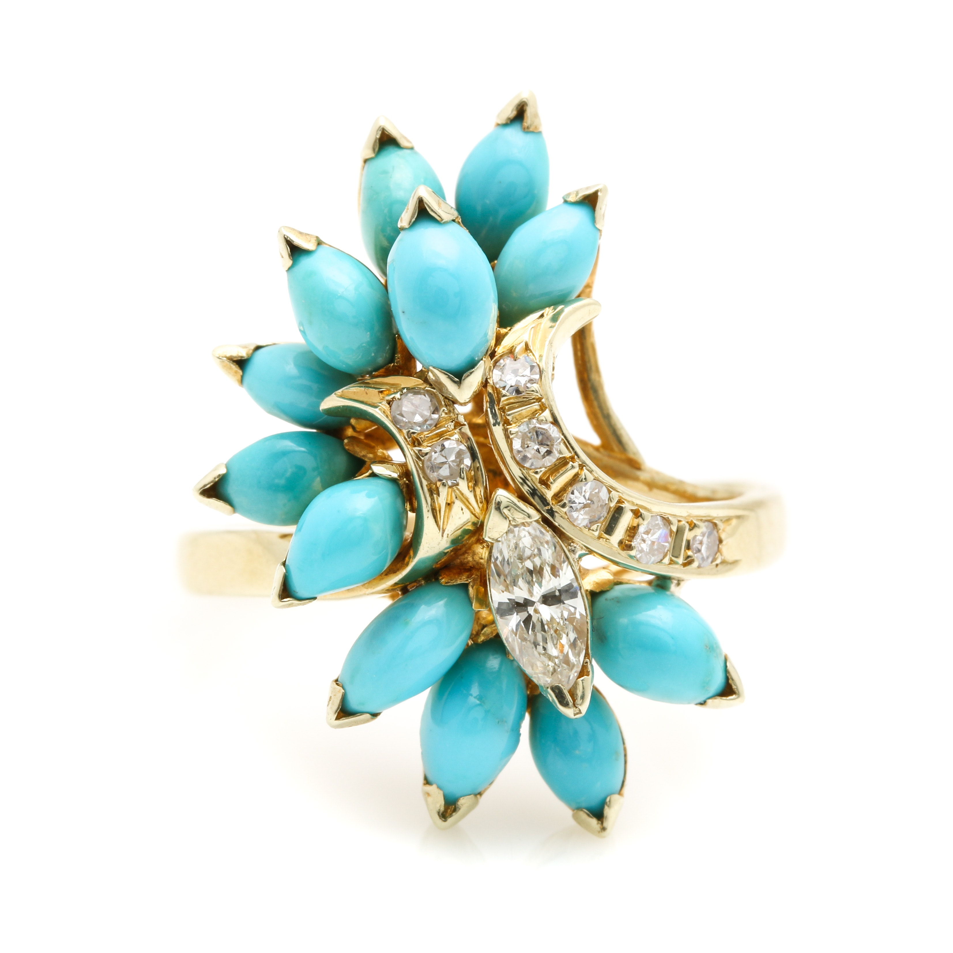 14K Yellow Gold Diamond and Turquoise Cluster Ring