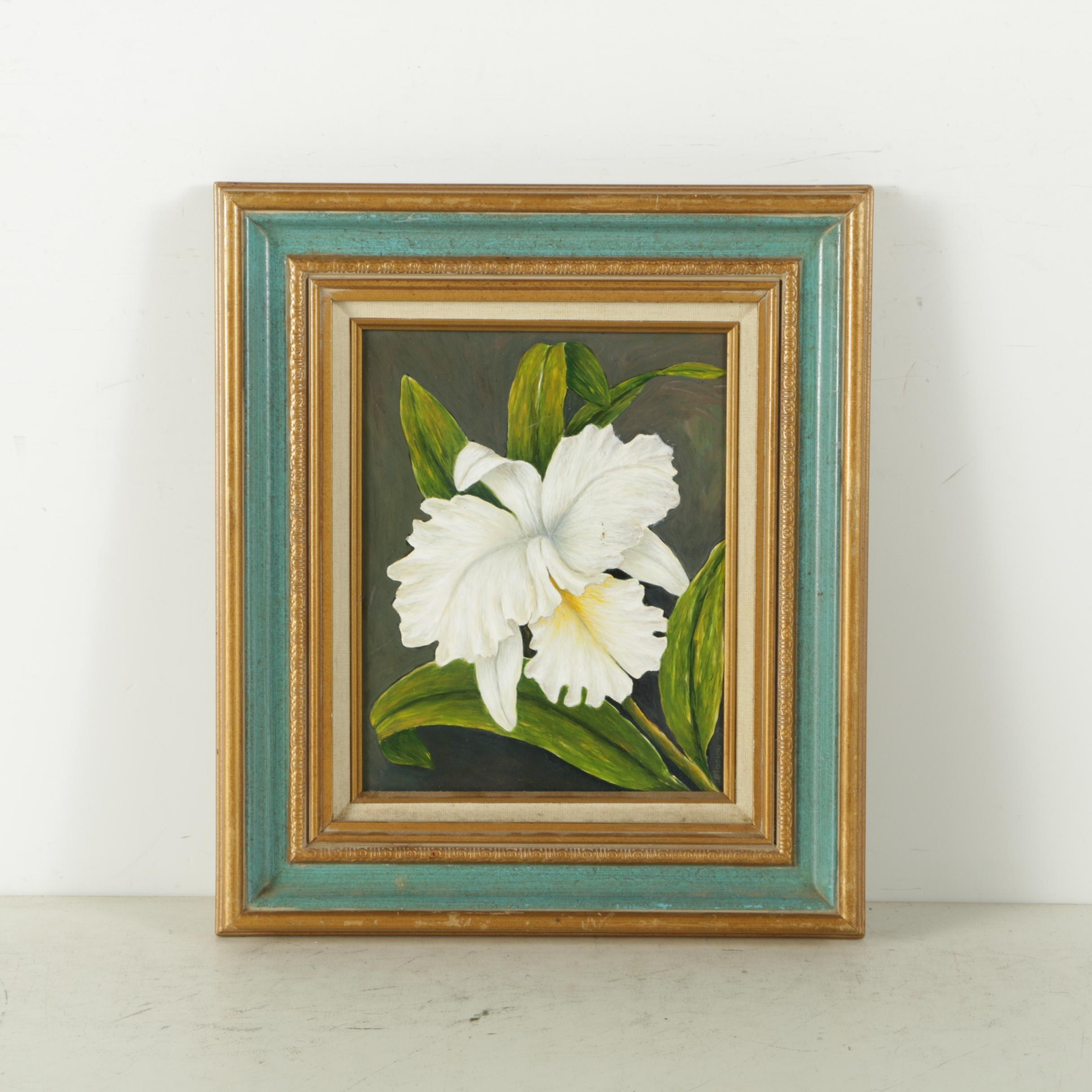 Oil Painting on Board of Flower