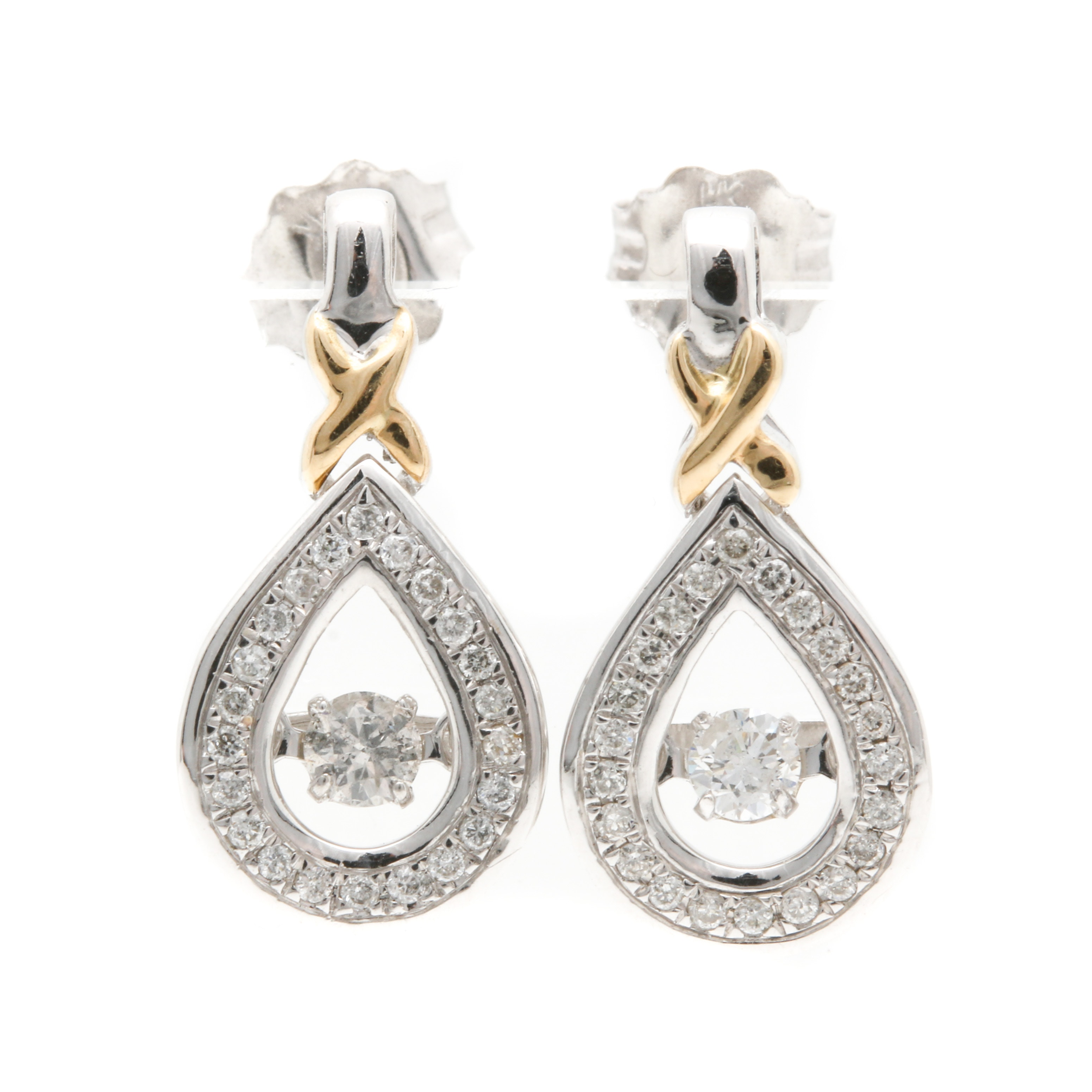 10K White Gold Diamond Stud Earrings With 10K Yellow Gold Accents