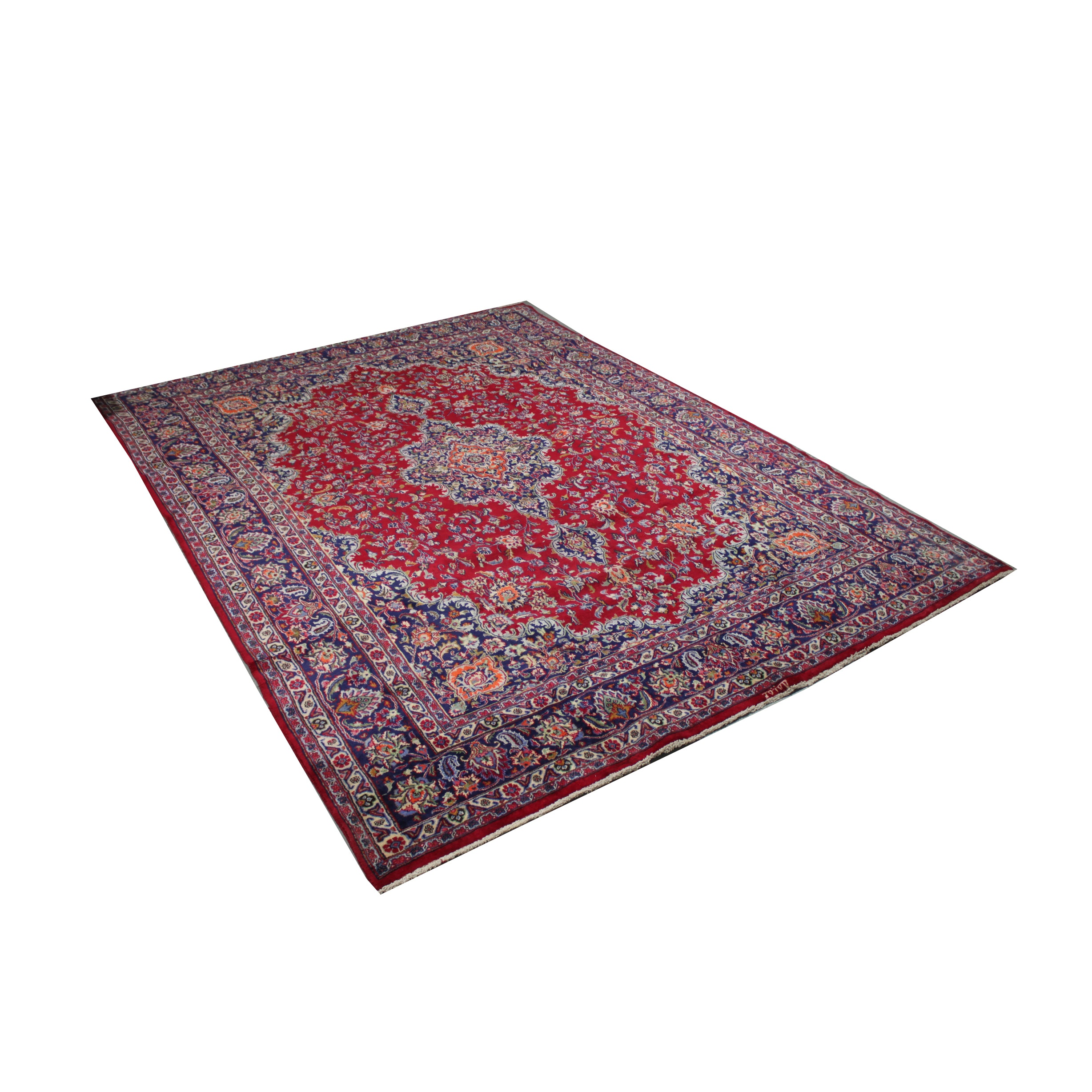 Hand-Knotted Signed Persian Mashhad Room Size Rug