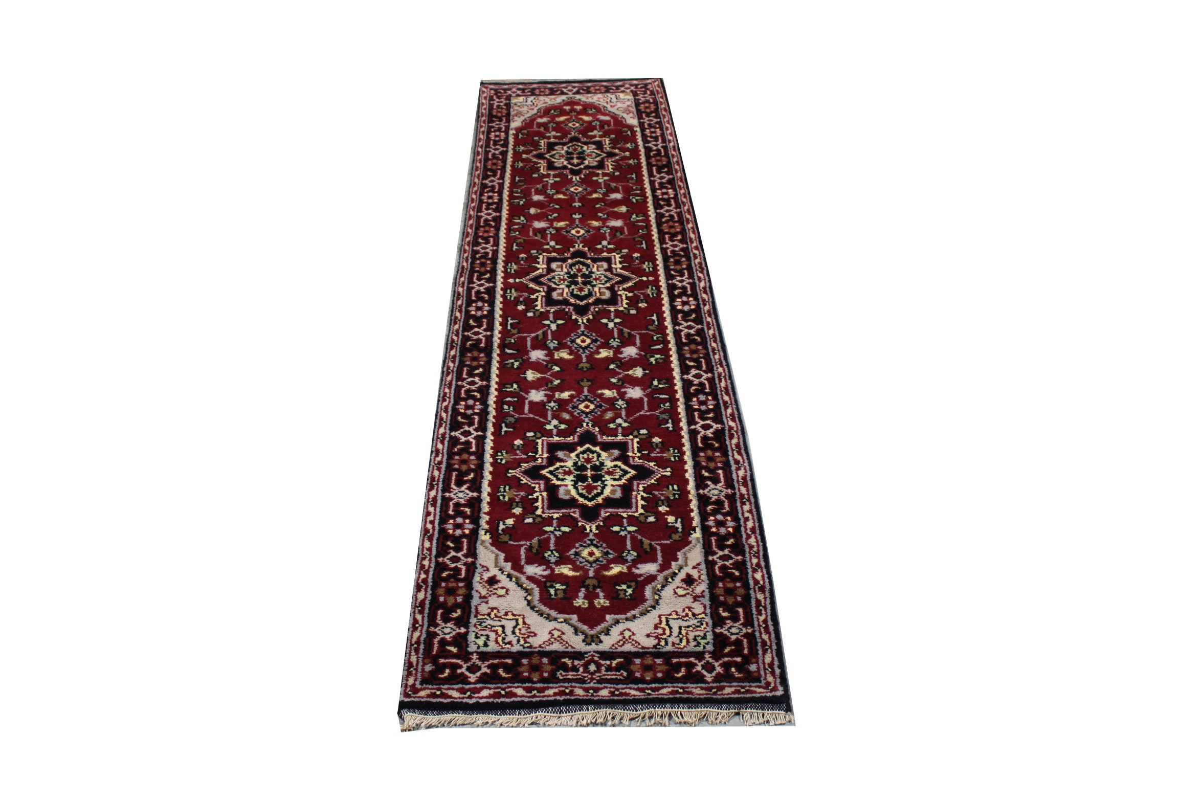 Hand-Knotted Indo-Persian Heriz Wool Carpet Runner