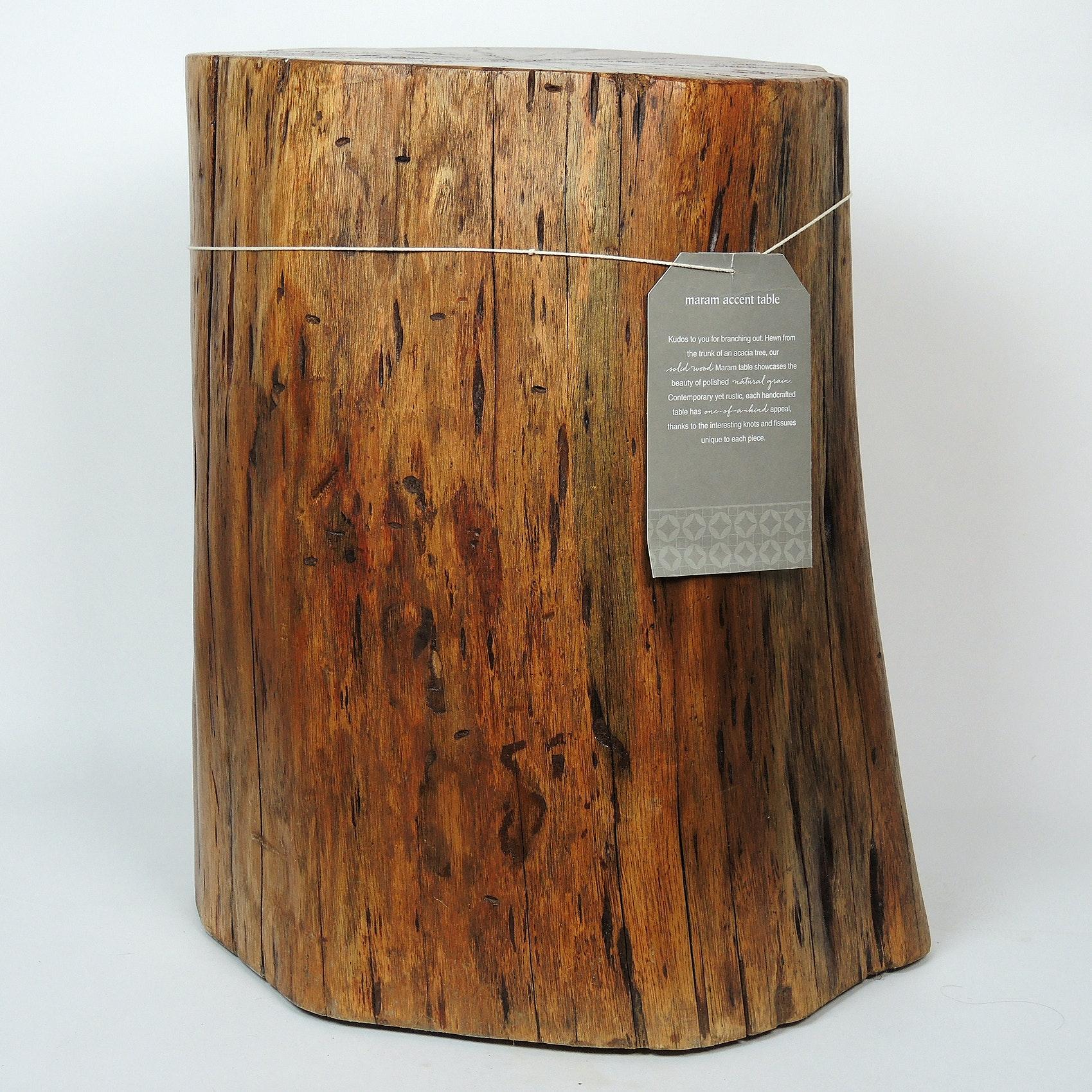 Maram Rustic Acacia Wood Stump End Table