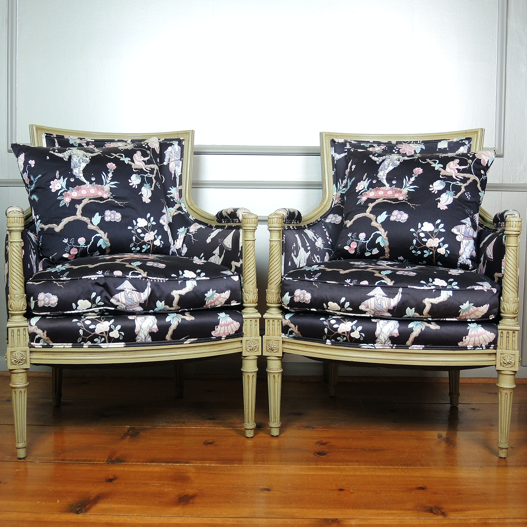 Neoclassical Style Upholstered Arm Chairs