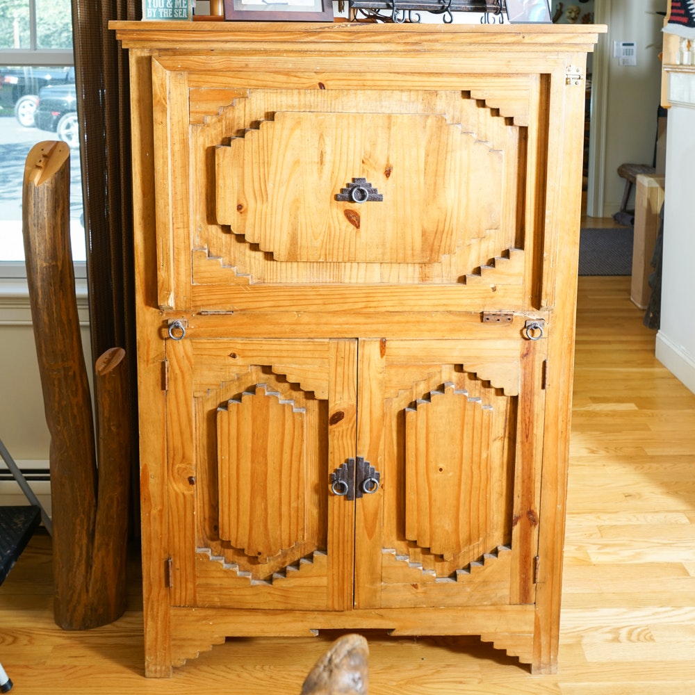 Southwestern Style Pine Cupboard with Raised Panels