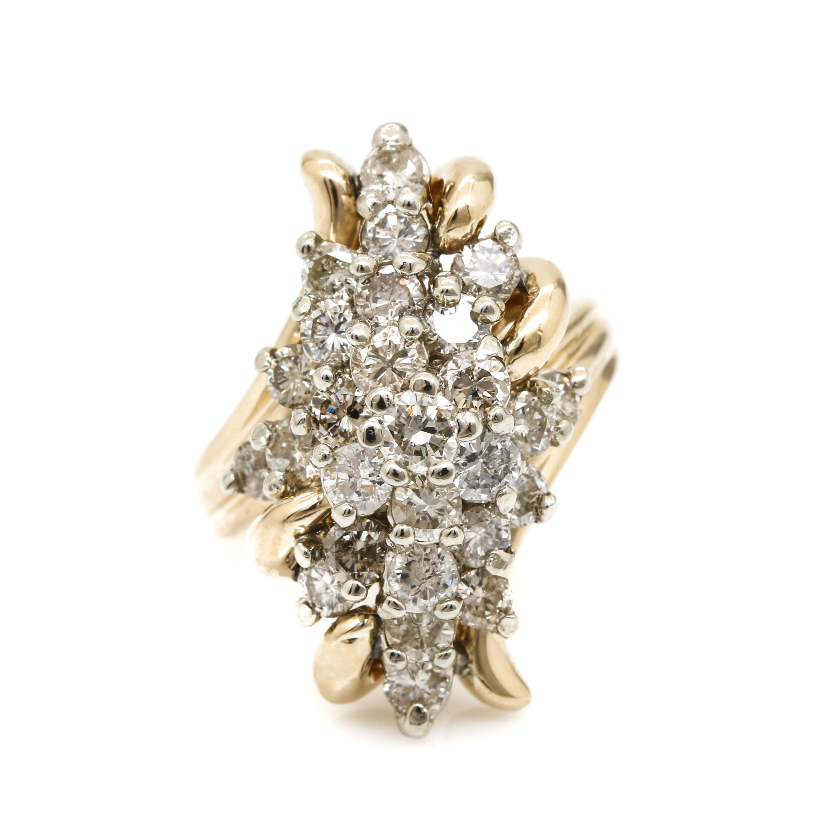 14K Yellow Gold 3.00 CTW Diamond Cluster Ring
