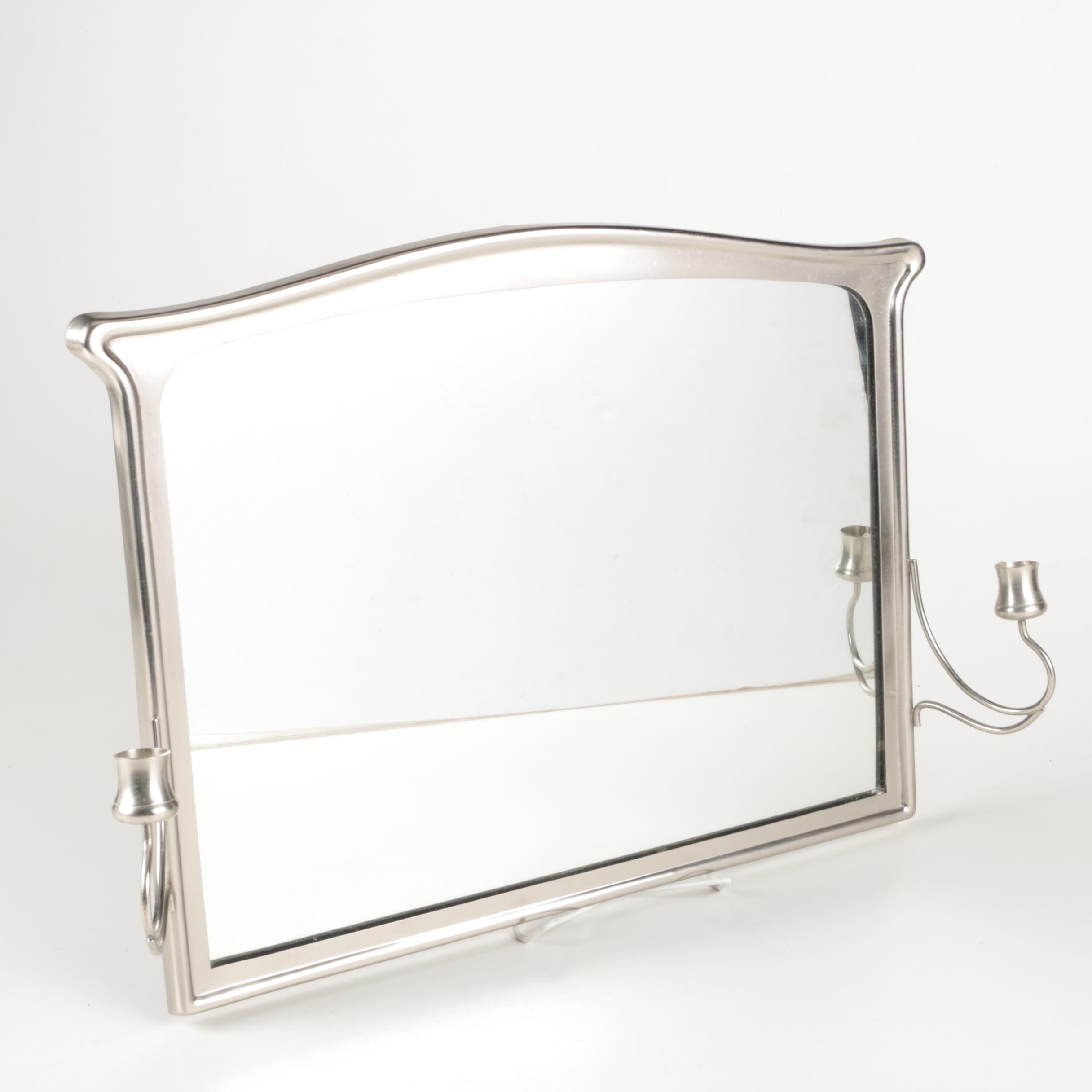 Silver Tone Framed Wall Mirror with Candle Holder Accents