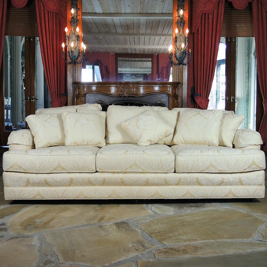 Overstuffed Henredon Tuxedo Sofa On Casters