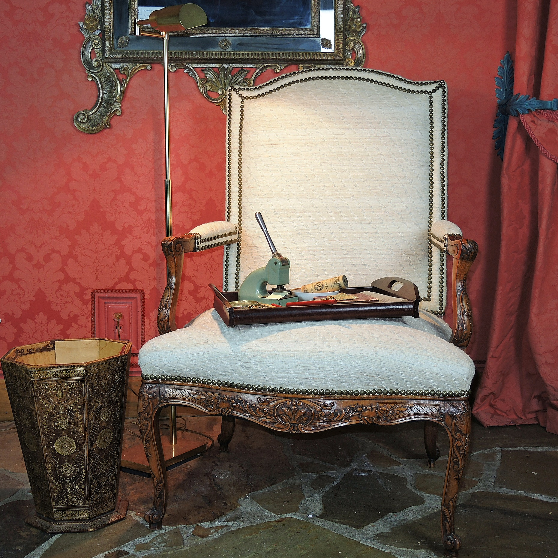 Antique Louis XIV Style Armchair and Vintage Office Novelties