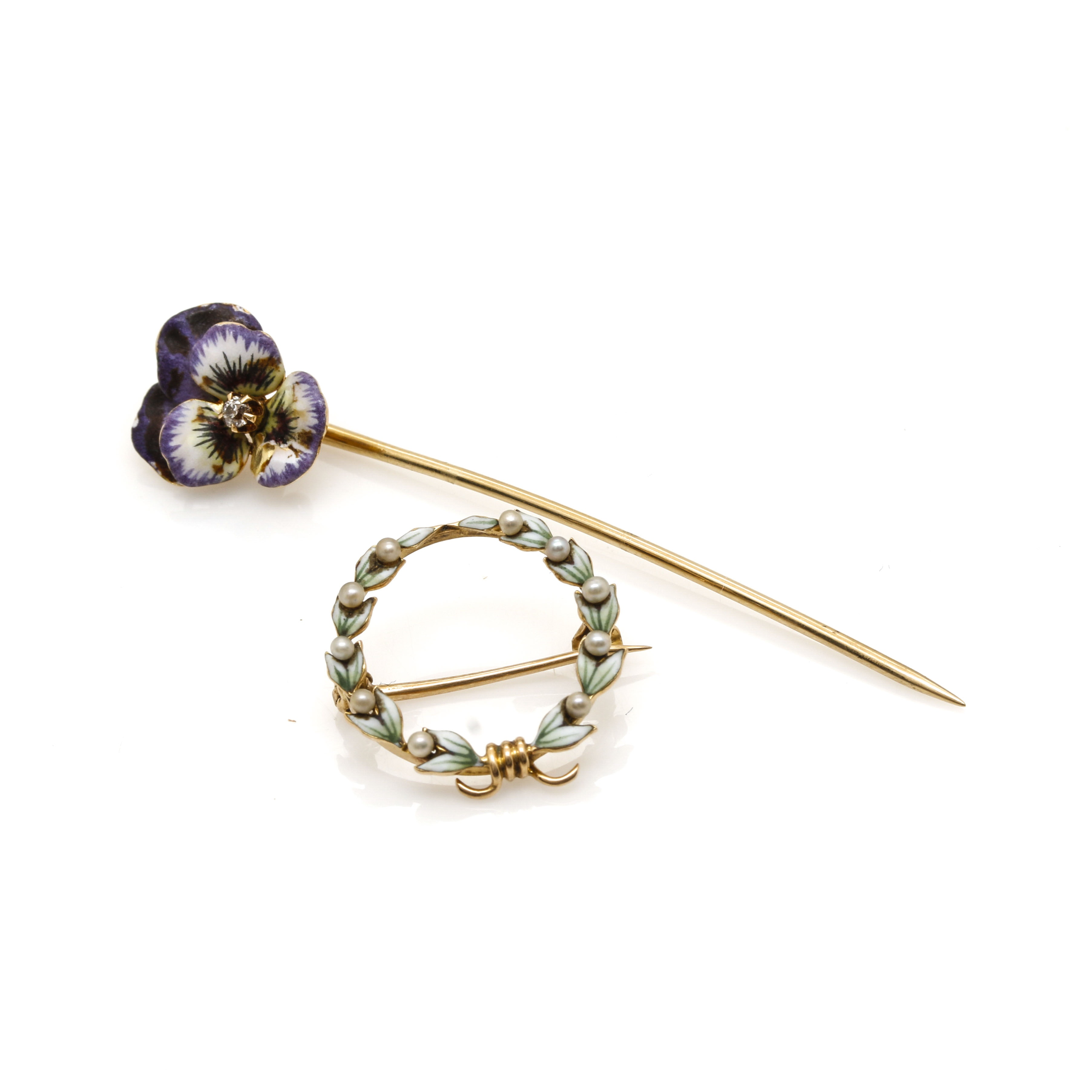 14K Yellow Gold and Diamond Enamel Pin and Seed Pearl Brooch