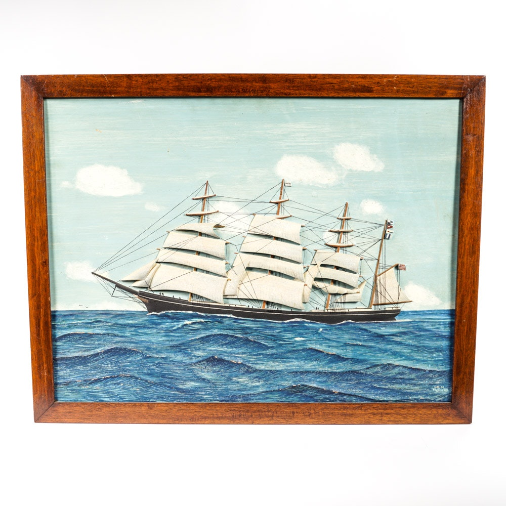 """Lloyd H. Thomas Carved and Painted Panel of Ship """"Frederick Billings"""""""