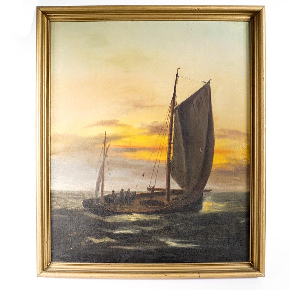 K. Var Original Oil Painting Nautical Scene on Linen Canvas