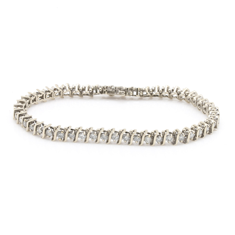 14K White Gold 4.90 CTW Diamond Bracelet