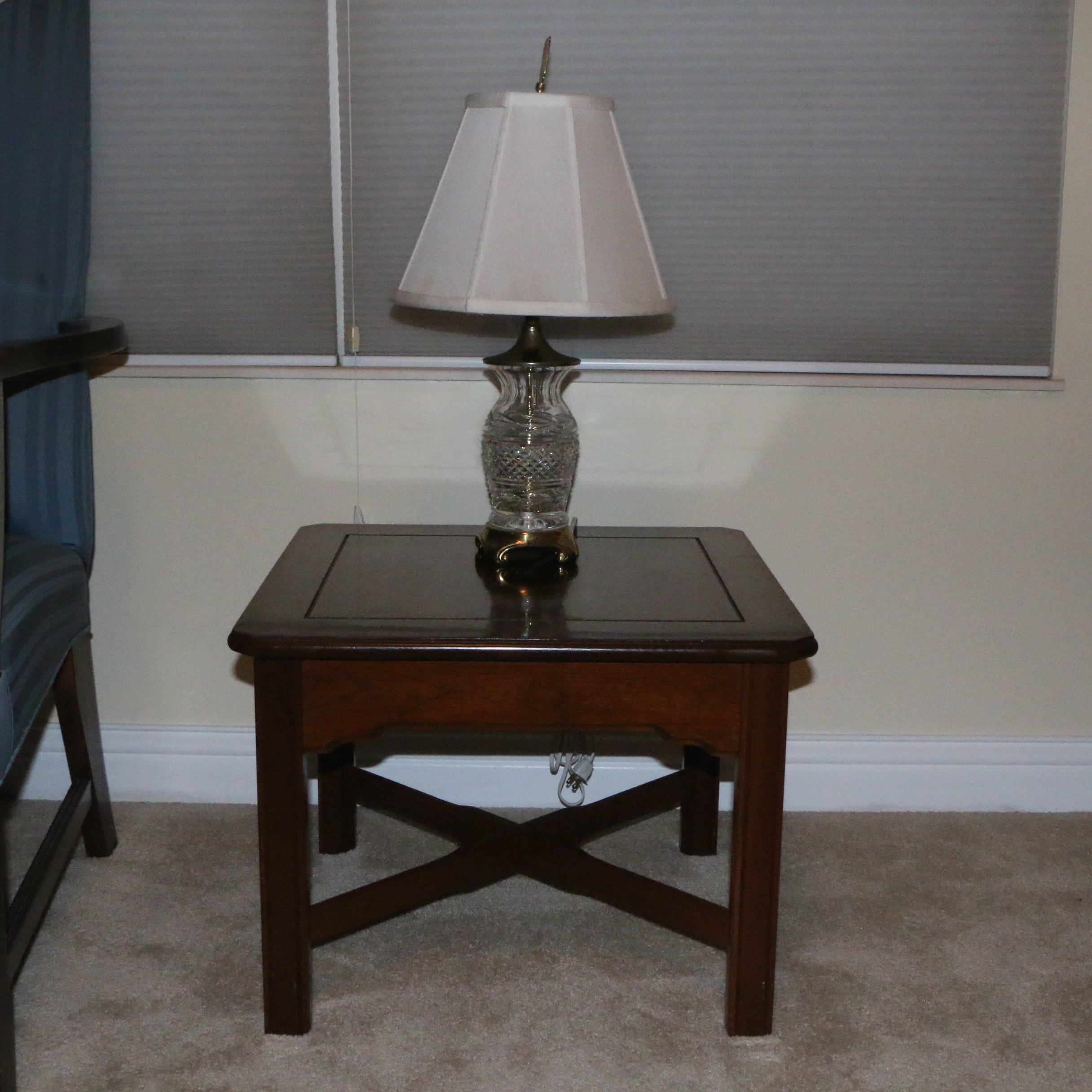 Side Table by Ellsworth of Willoughby with Table Lamp