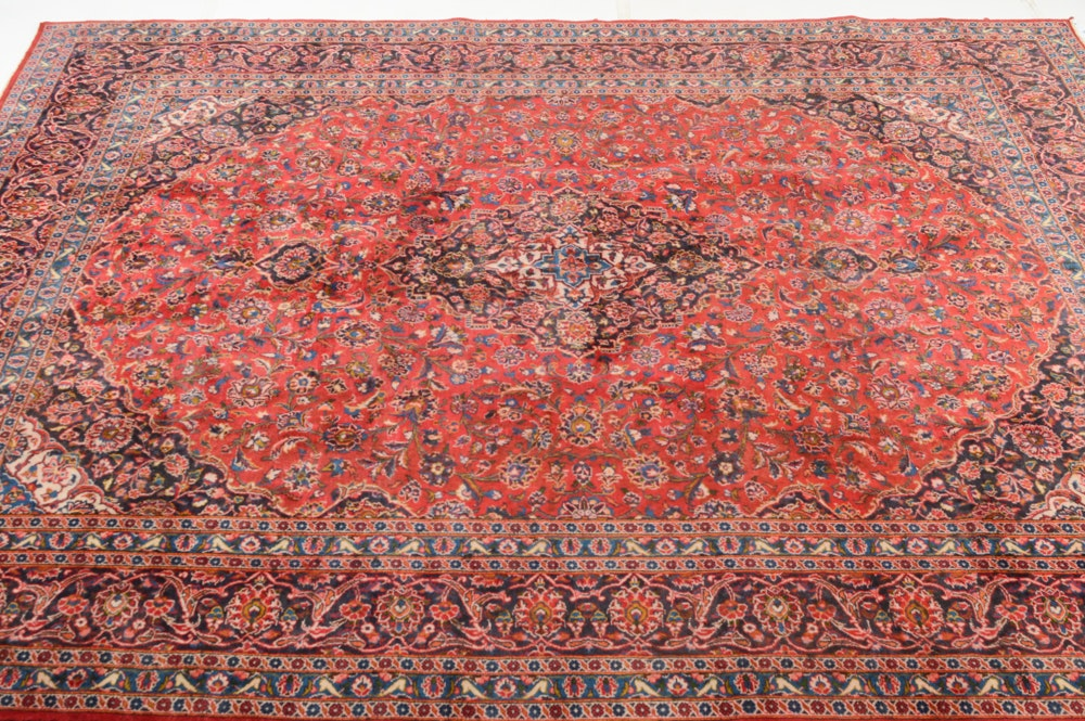 Semi-Antique Hand-Knotted Persian Mashhad Rug