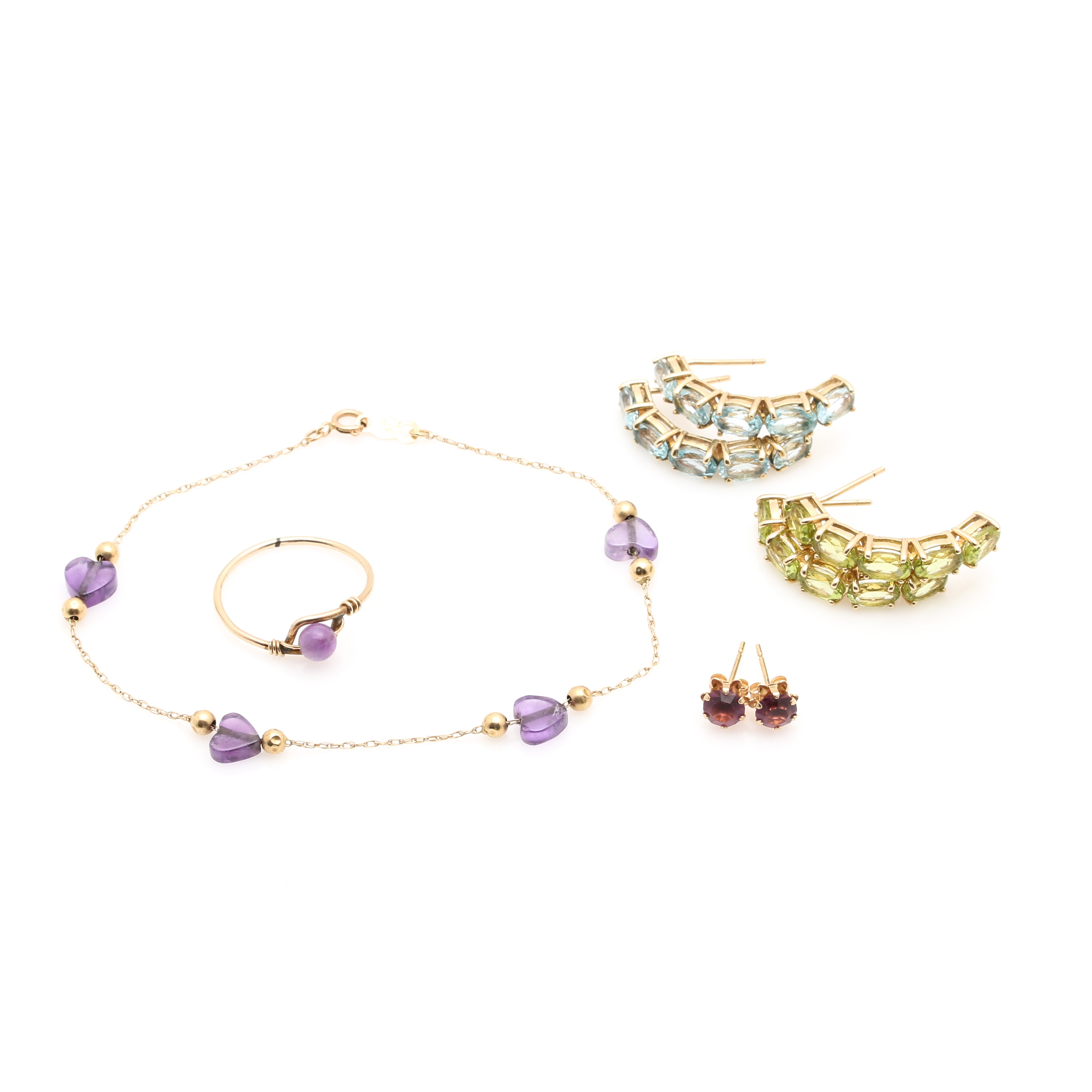 10K and 14K Yellow Gold Jewelry Assortment Including Gemstones