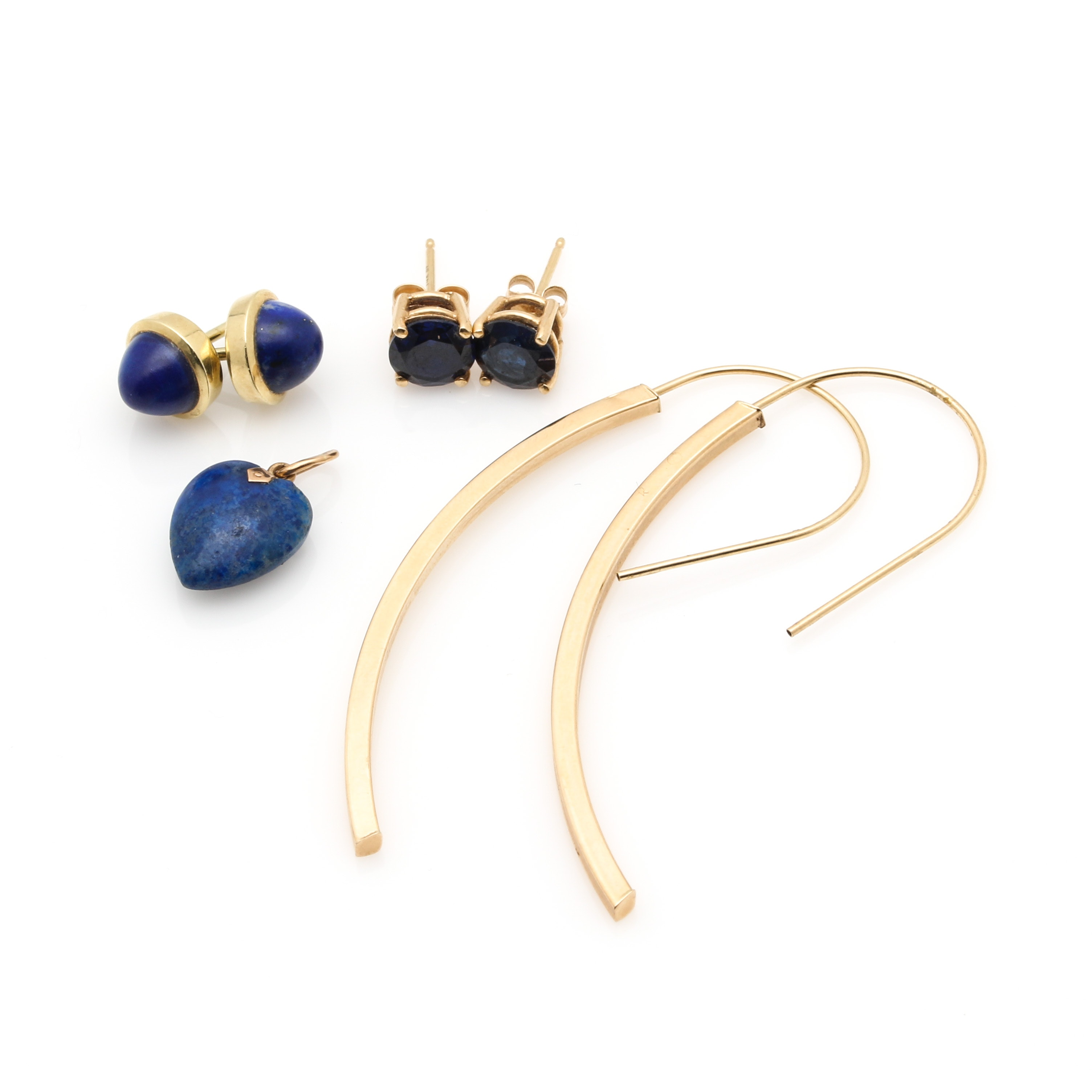 14K Yellow Gold Earrings and Pendant Including Lapis Lazuli