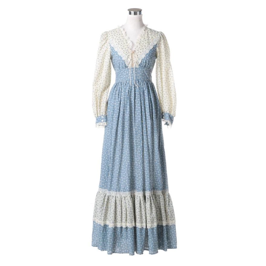 Circa 1970s Vintage Jessica Mcclintock Gunne Sax Dress