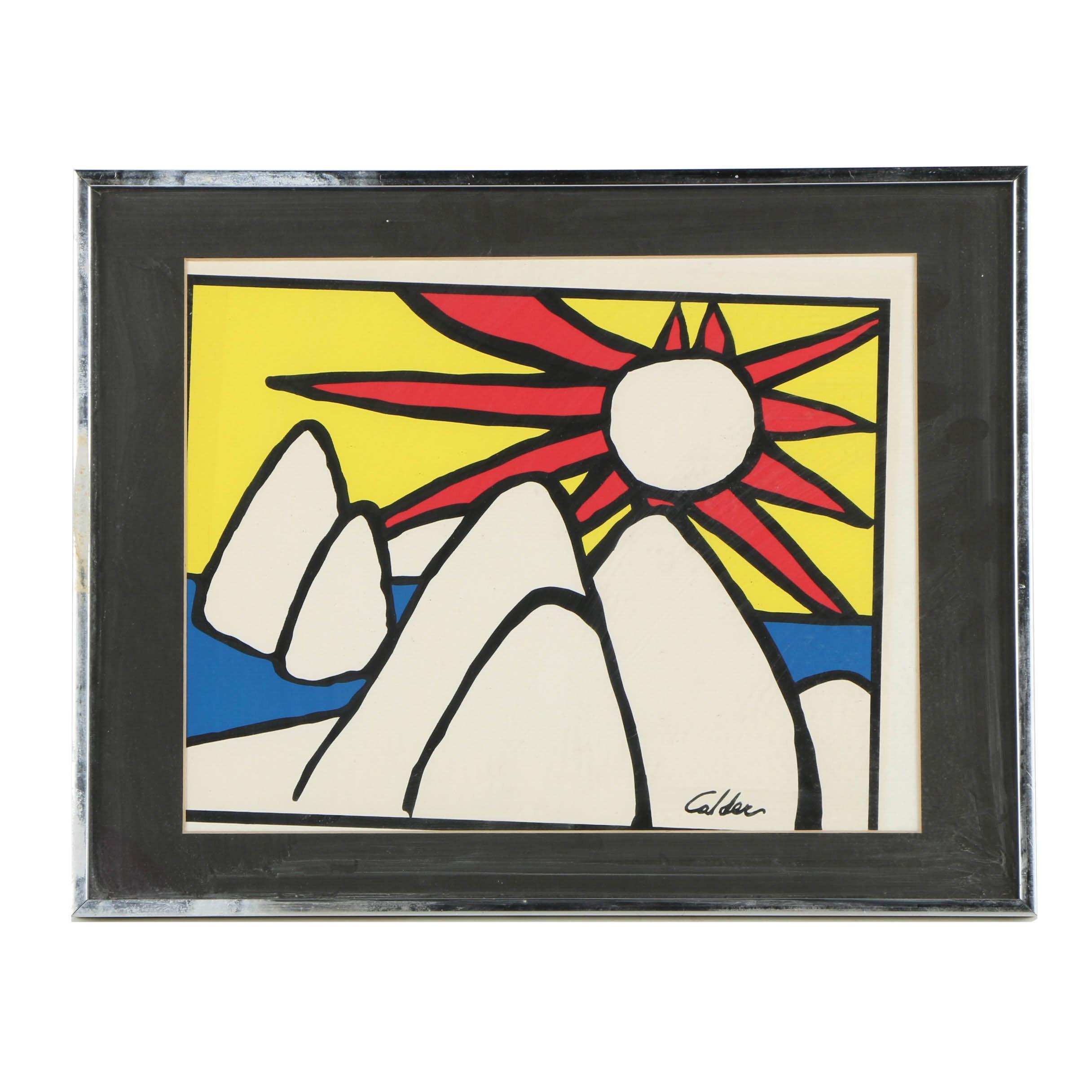 After Alexander Calder Serigraph of Sun and Mountains