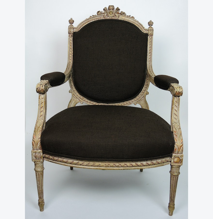 antique louis xv fauteuil upholstered armchair ebth. Black Bedroom Furniture Sets. Home Design Ideas