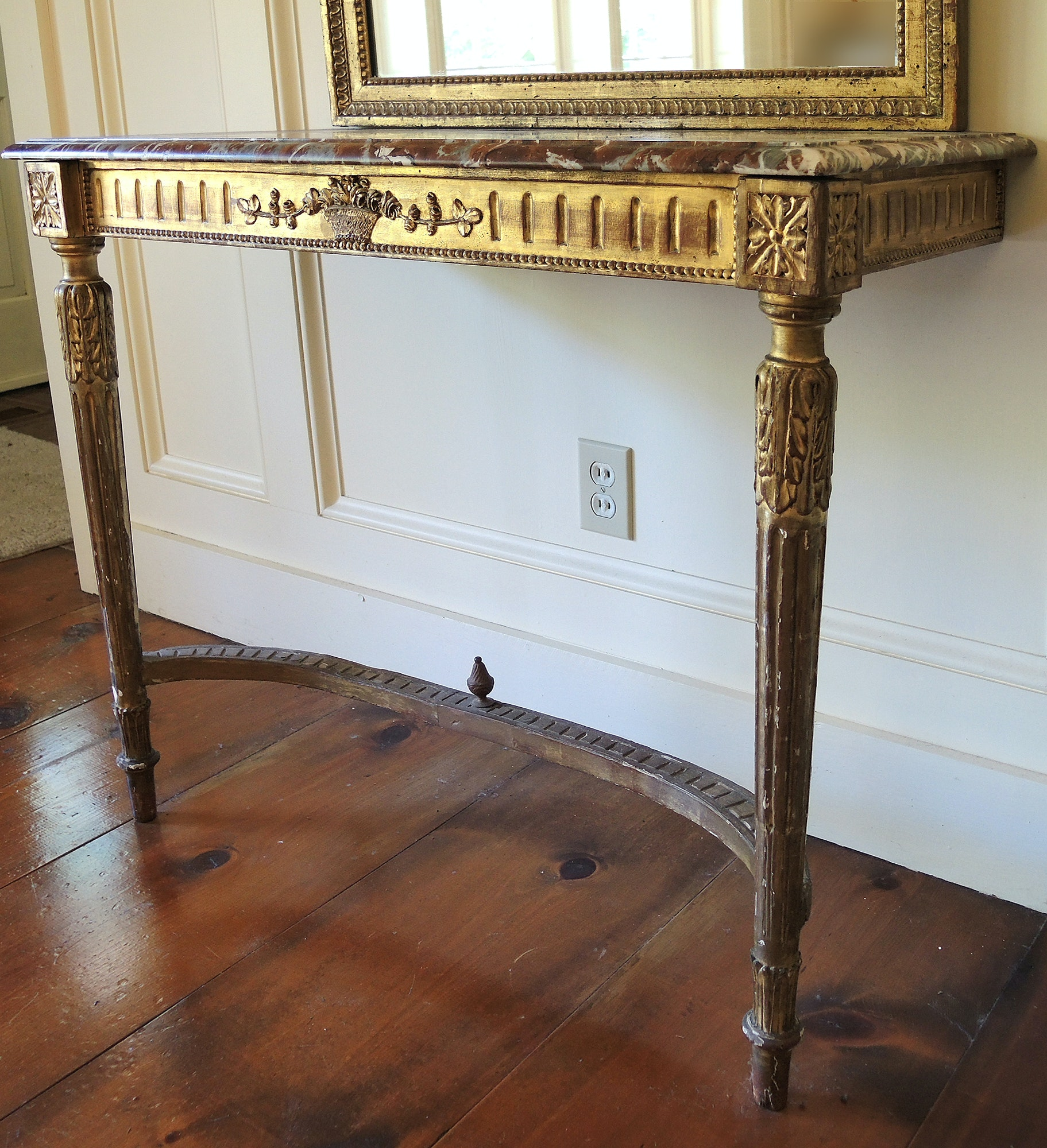Louis XVI French Wall Mounted Console Table with Marble Top