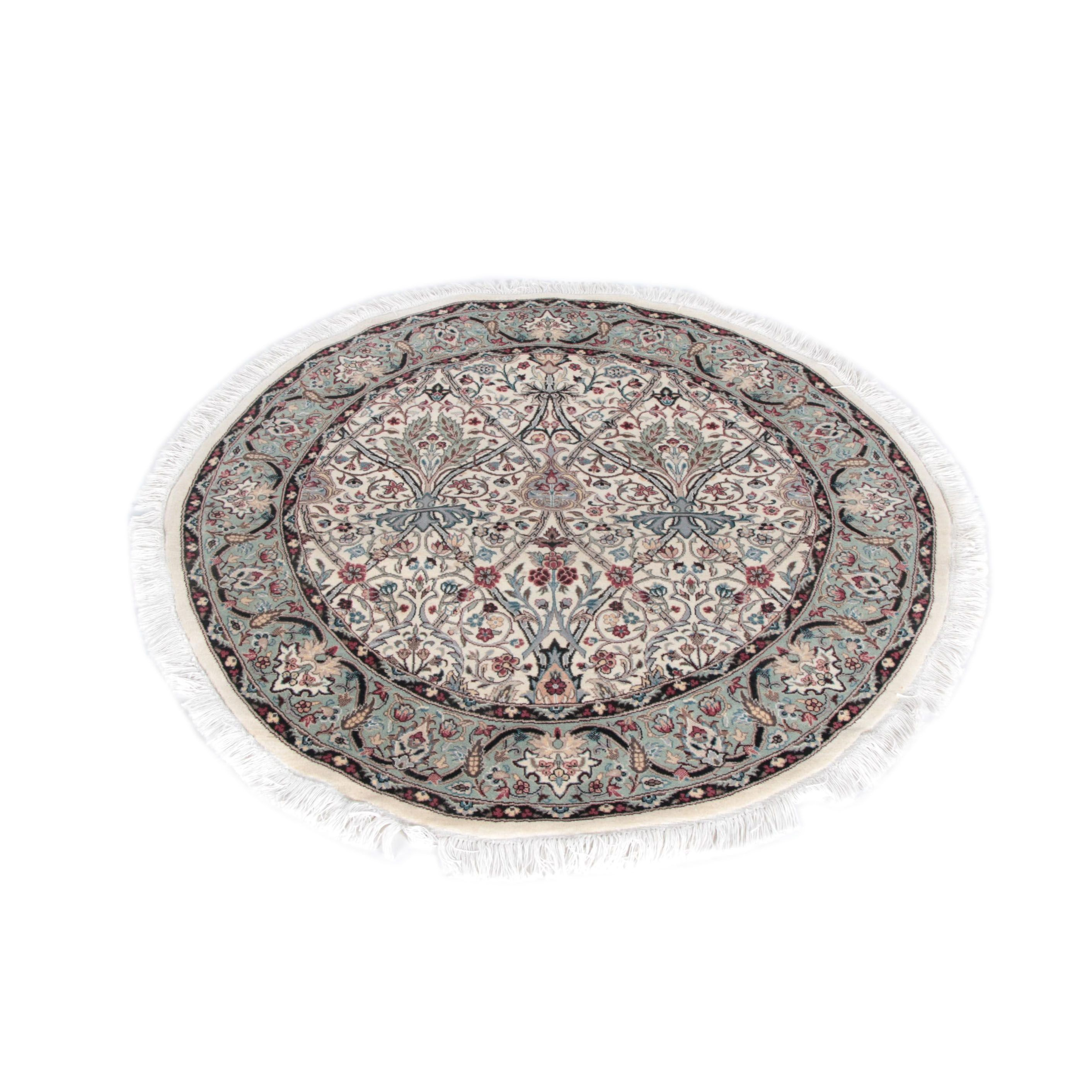 Finely Hand-Knotted Nain Round Wool Accent Rug