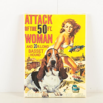 """Reproduction Print """"Attack of the 50 Ft. Woman and 20 ft. Long Basset Hound"""""""