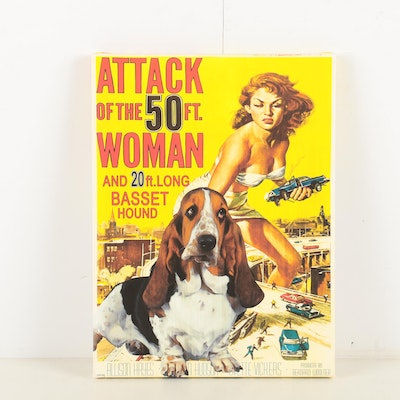 "Reproduction Print ""Attack of the 50 Ft. Woman and 20 ft. Long Basset Hound"""