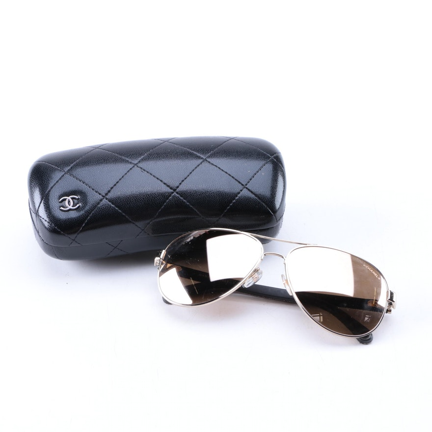 6572fbf569a86 Women s Chanel Mirrored Aviator Sunglasses with Case   EBTH