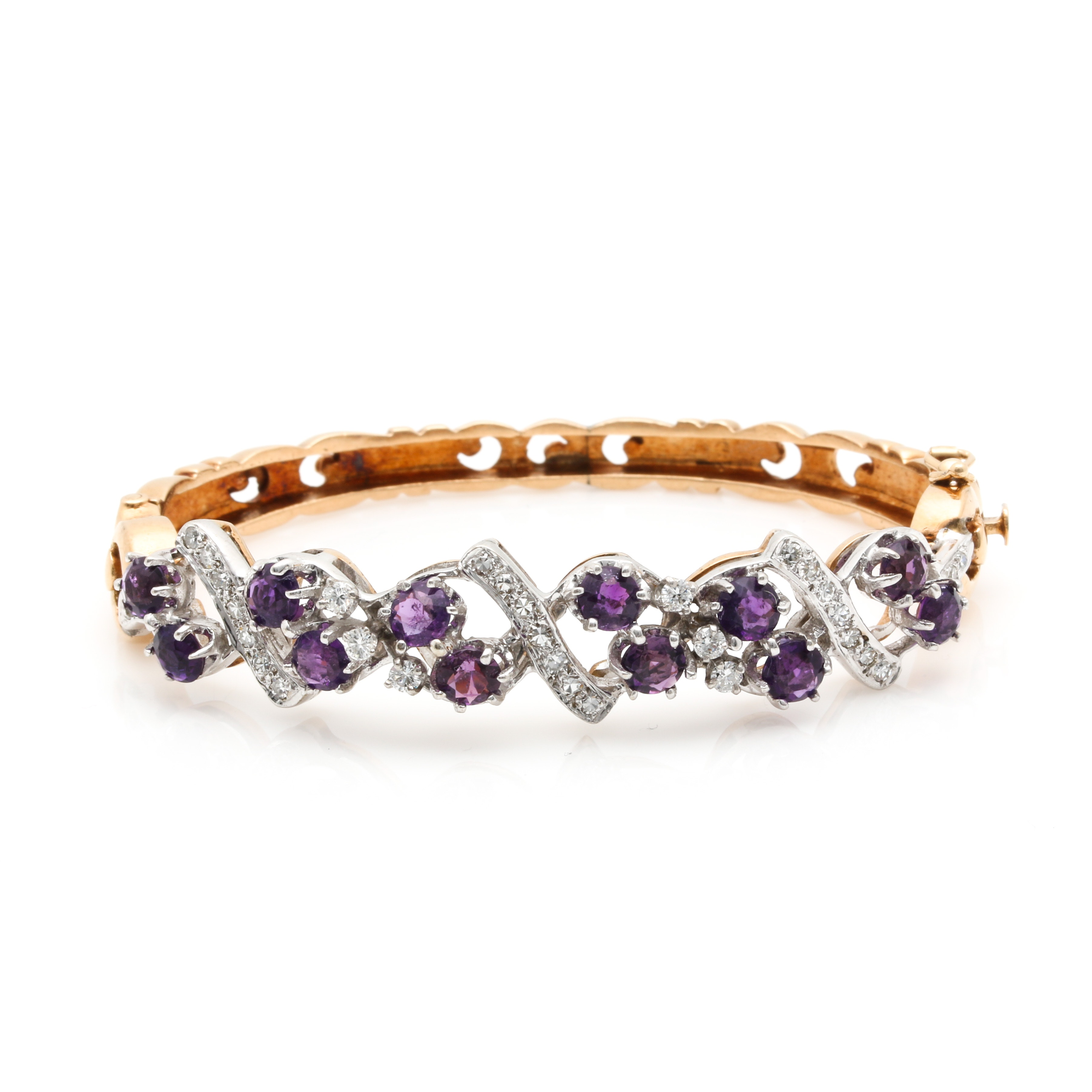 14K Bi-Color Hinged 3.50 CTW Amethyst and Diamond Bracelet