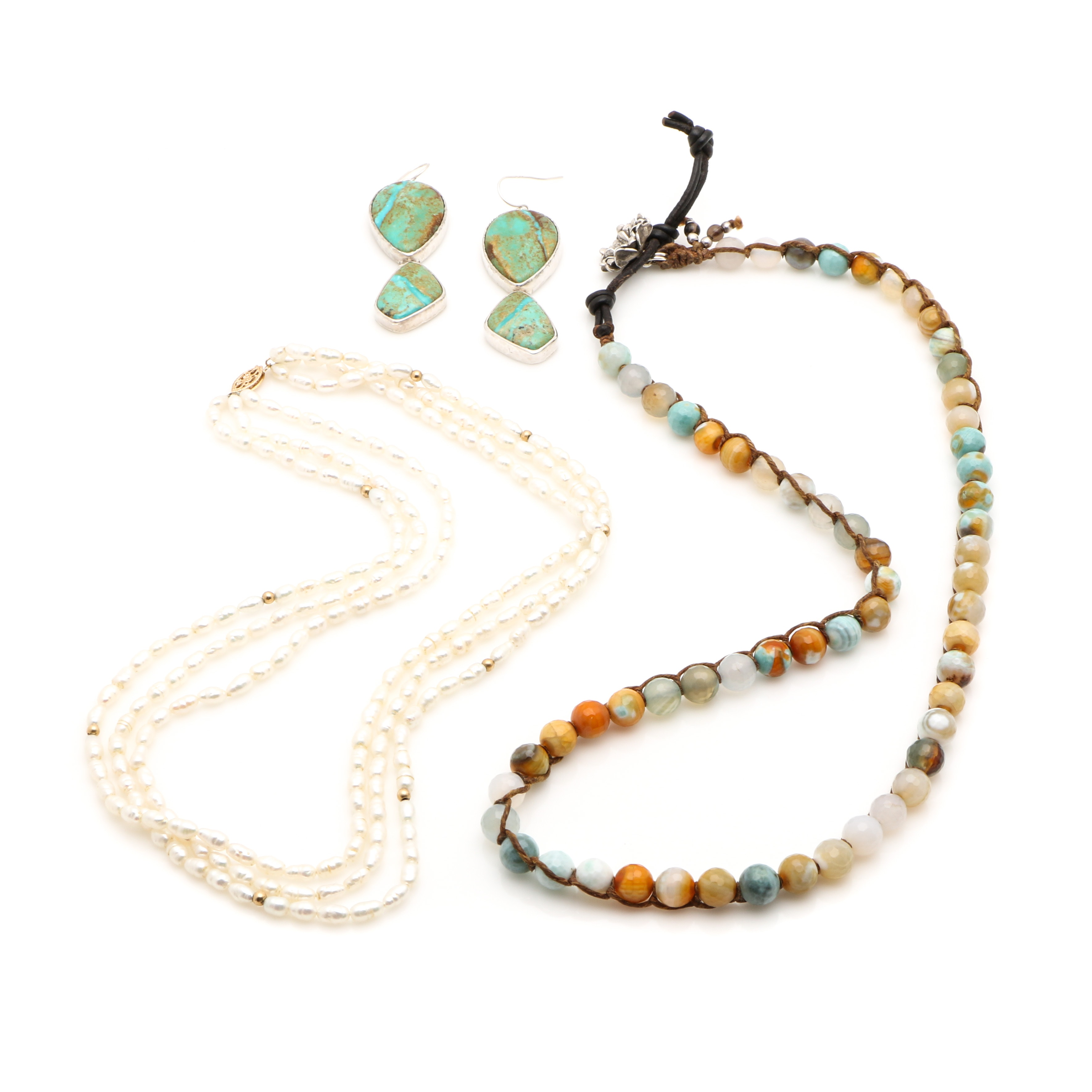 Gemstone Necklaces and Earrings with 14K Yellow Gold and Sterling Silver