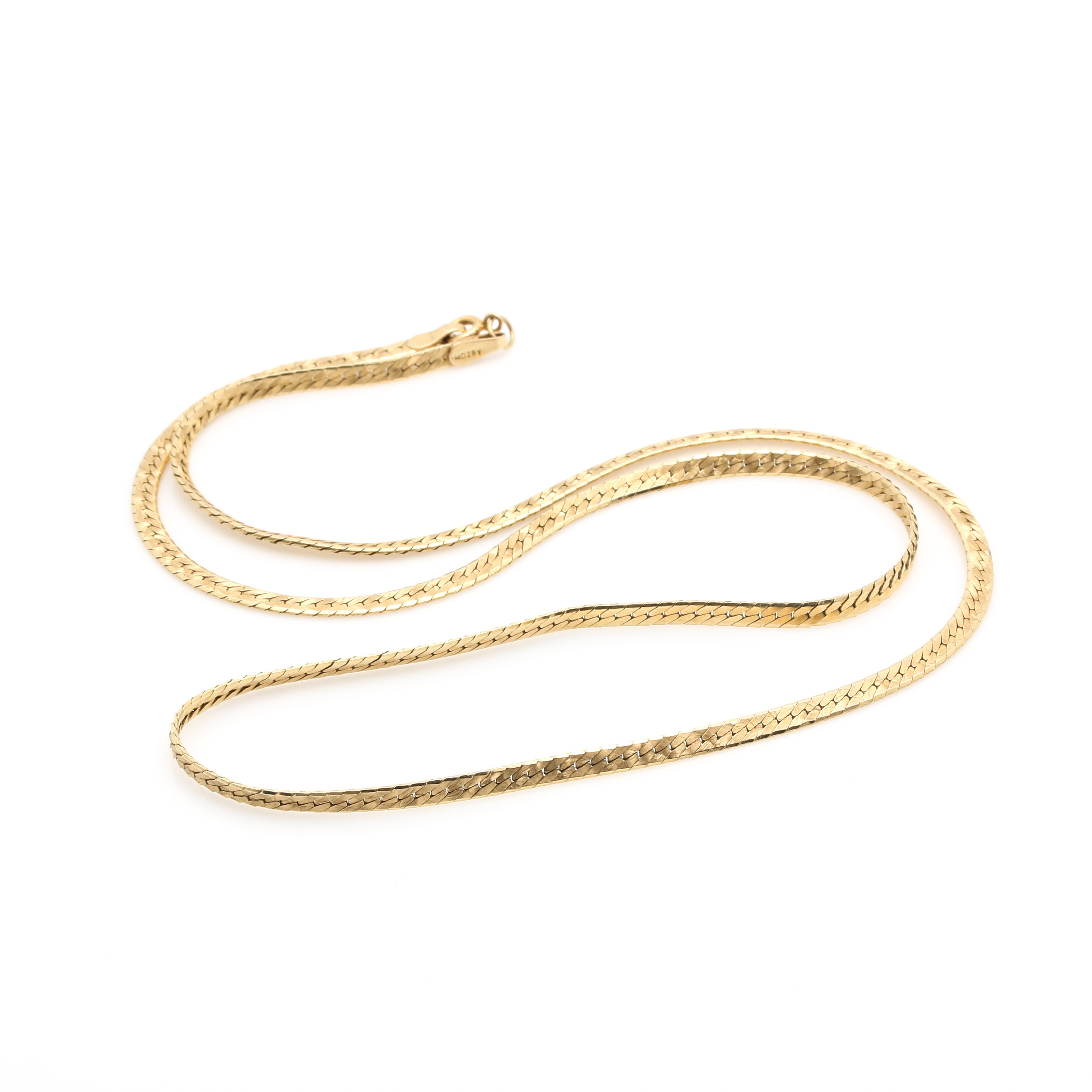 14K Yellow Gold Reversible Herringbone Chain Necklace
