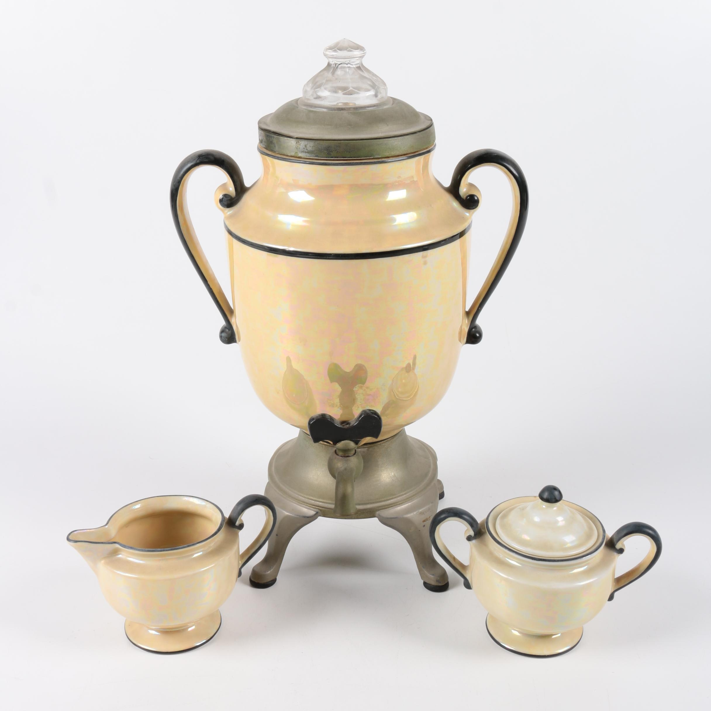 Royal Rochester Fraunfelter Coffee Urn with Creamer and Sugar Bowl