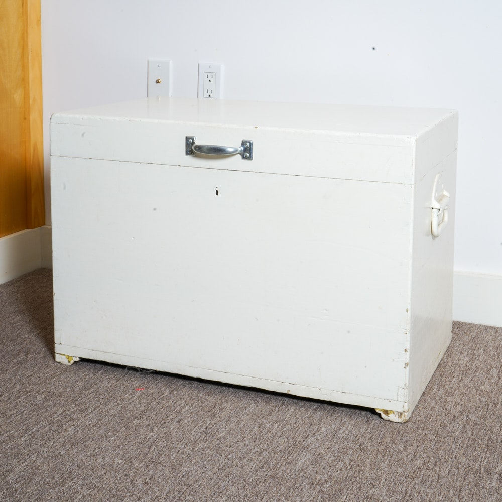 Vintage White Painted Wooden Storage Chest