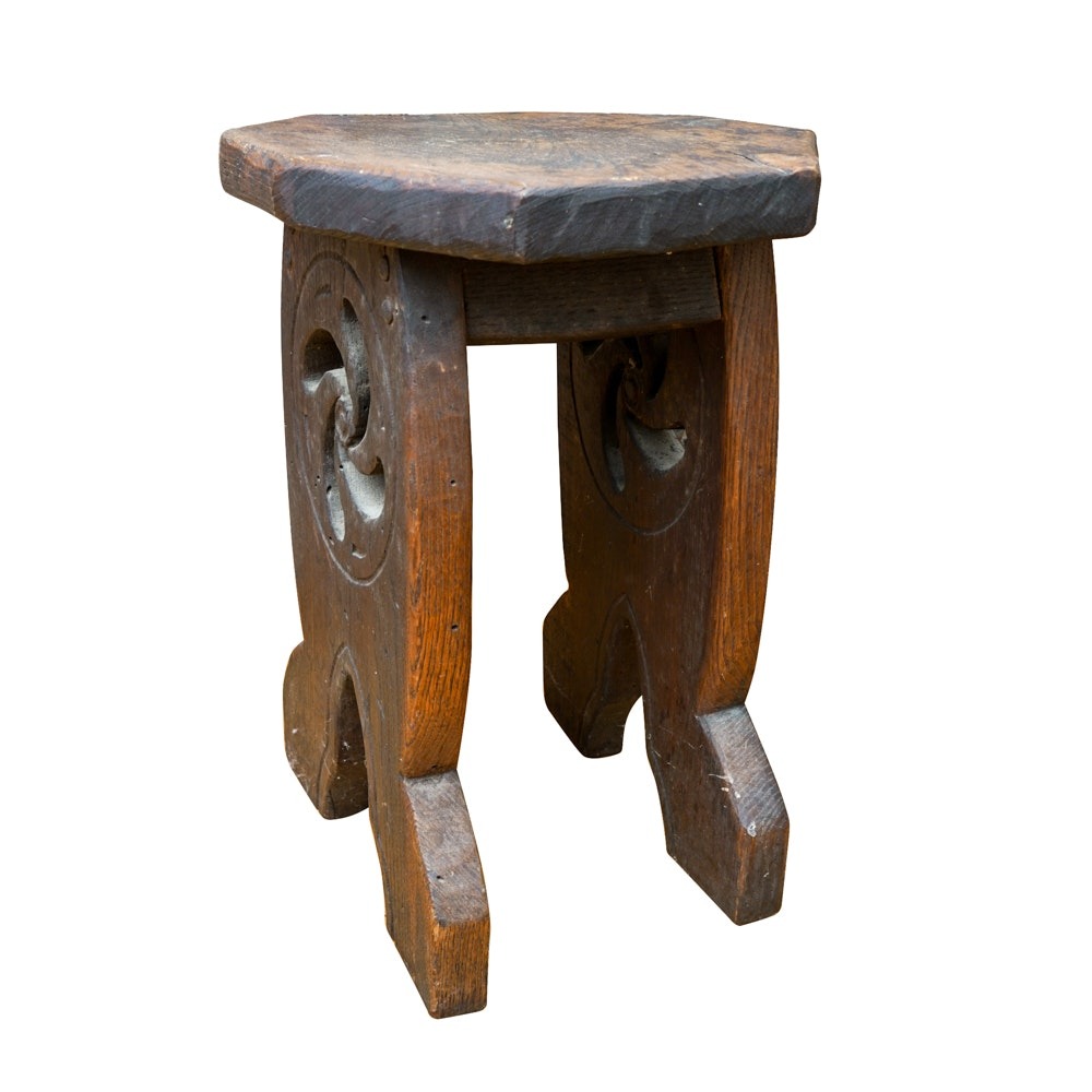 English Revival Style Carved Elm Stool