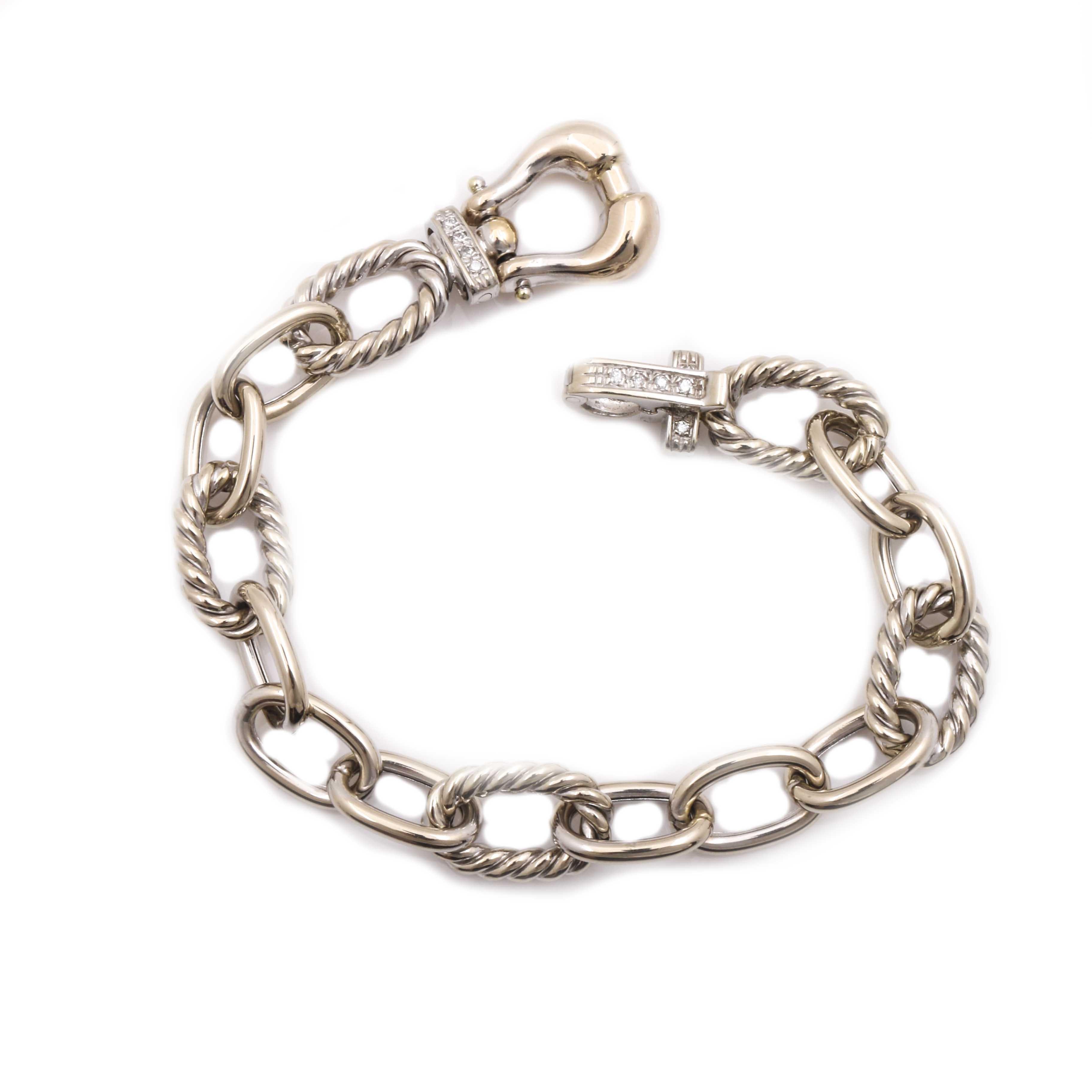 14K White Gold Oval Link Bracelet With Diamond Accents