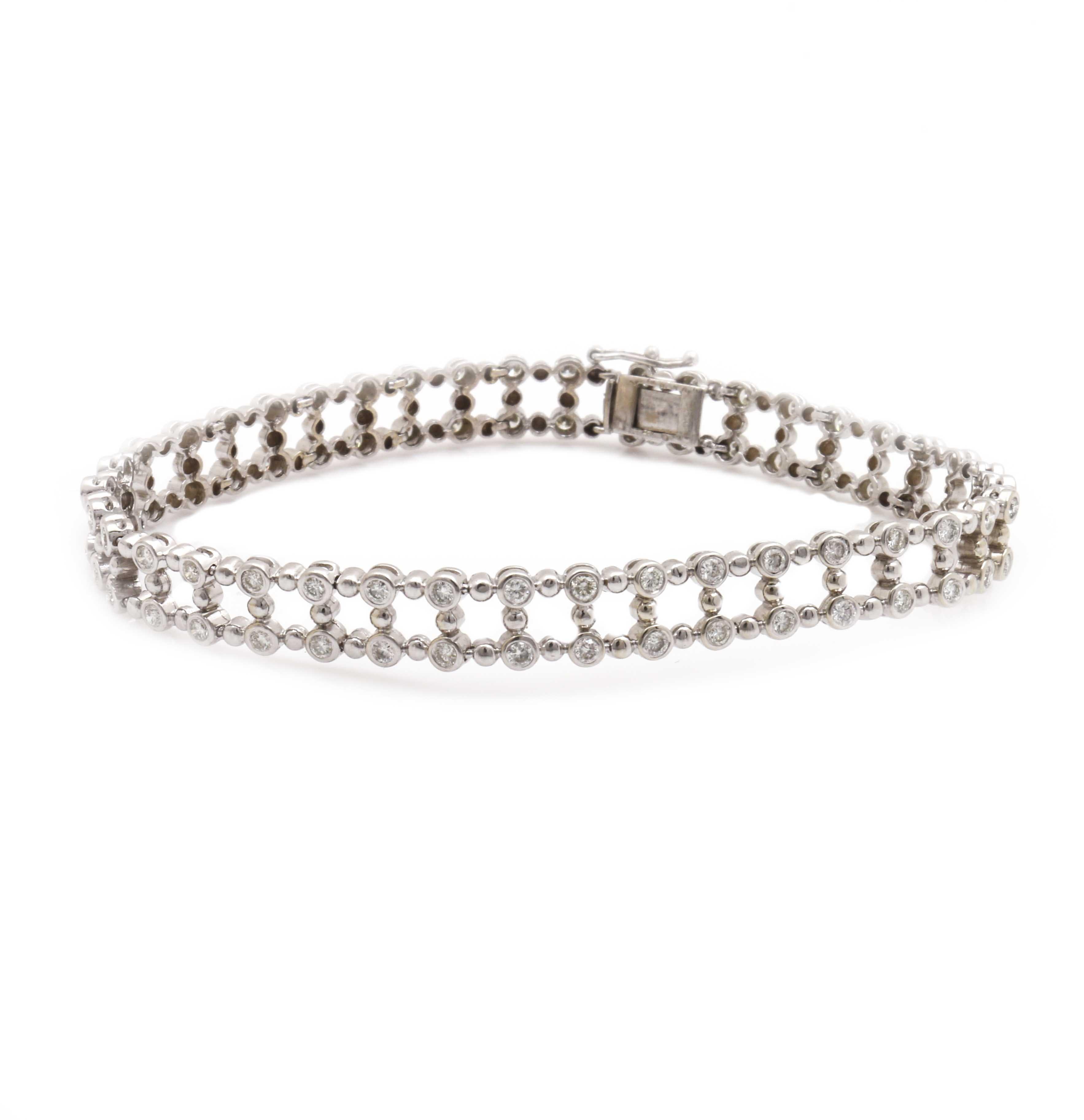 14K White Gold 2.30 CTW Diamond Bracelet