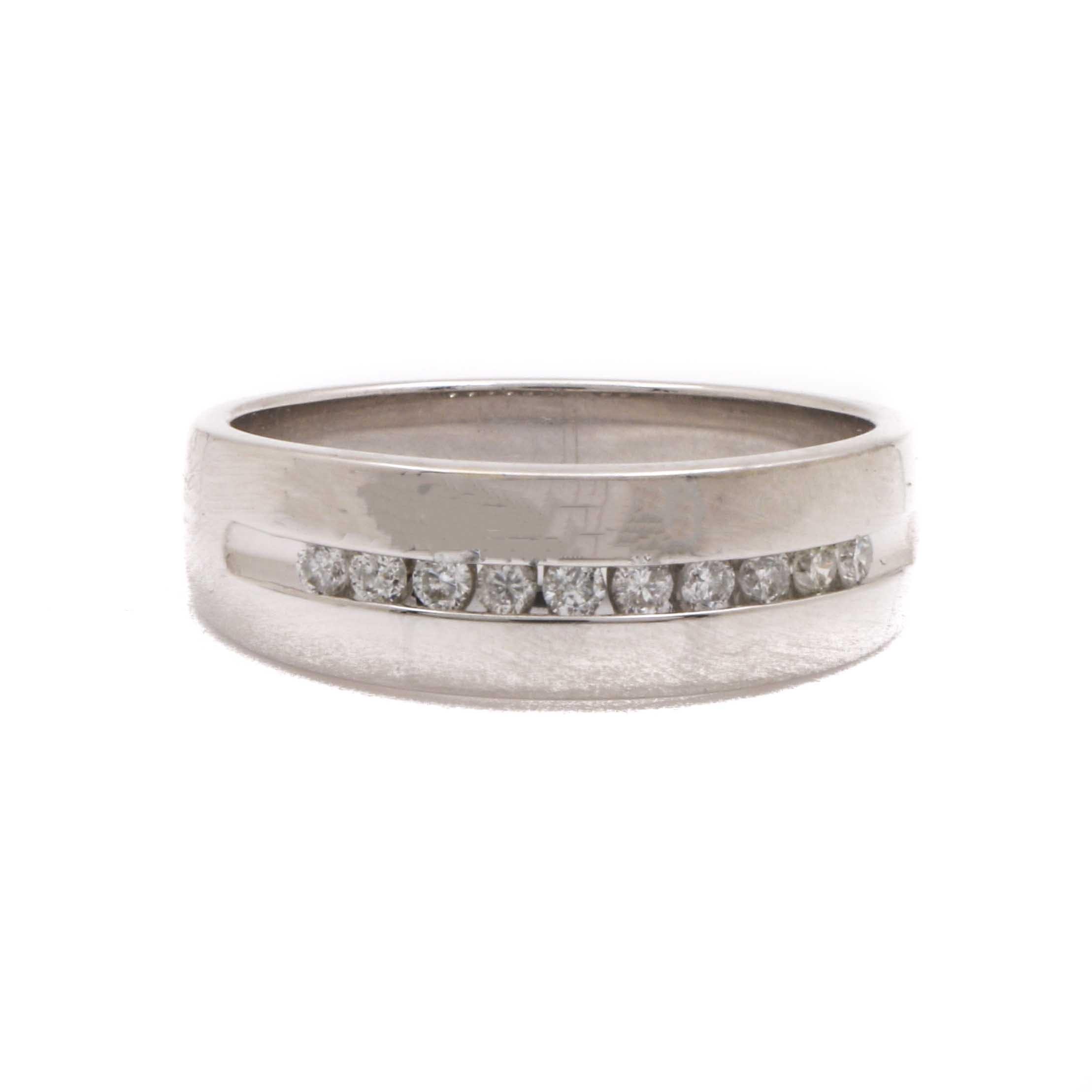 14K White Gold Diamond Ring Band