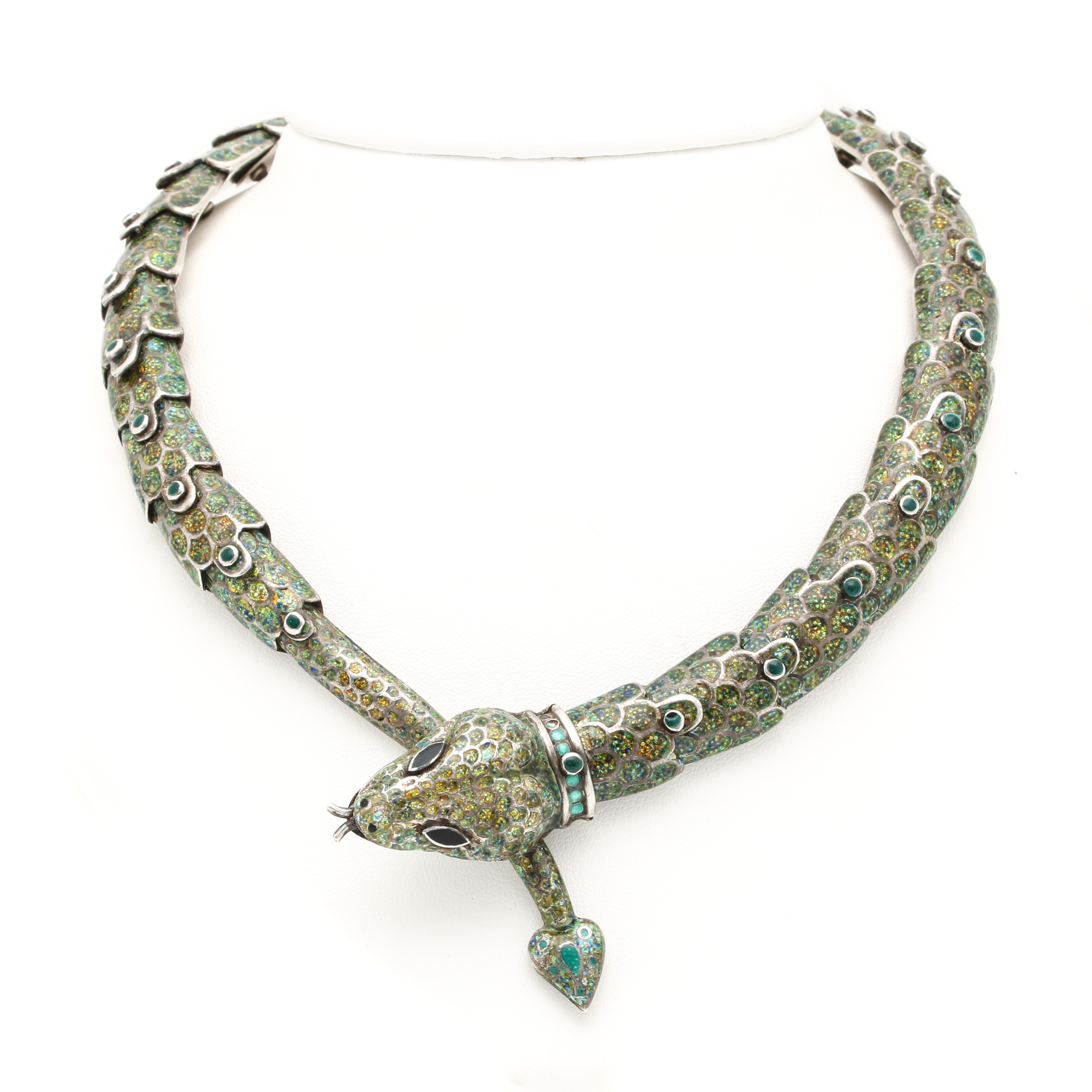 Vintage Margot de Taxco Enamel Snake Collar Necklace