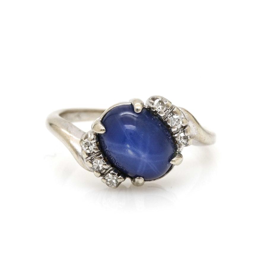 14K White Gold Star Sapphire and Diamond Bypass Ring : EBTH