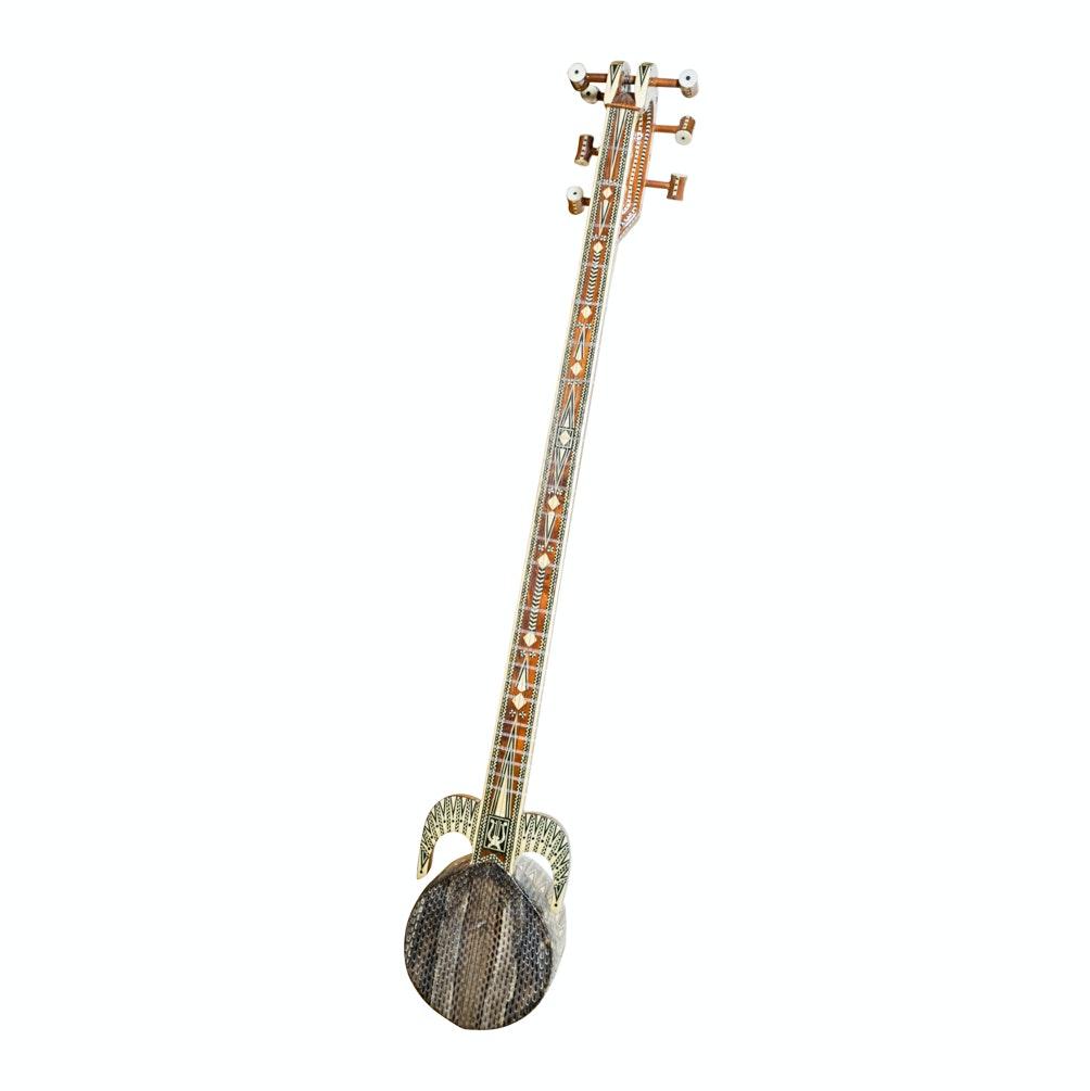 Ornate Bone and Ebony Inlay Banjo Style Instrument with Snakeskin Head