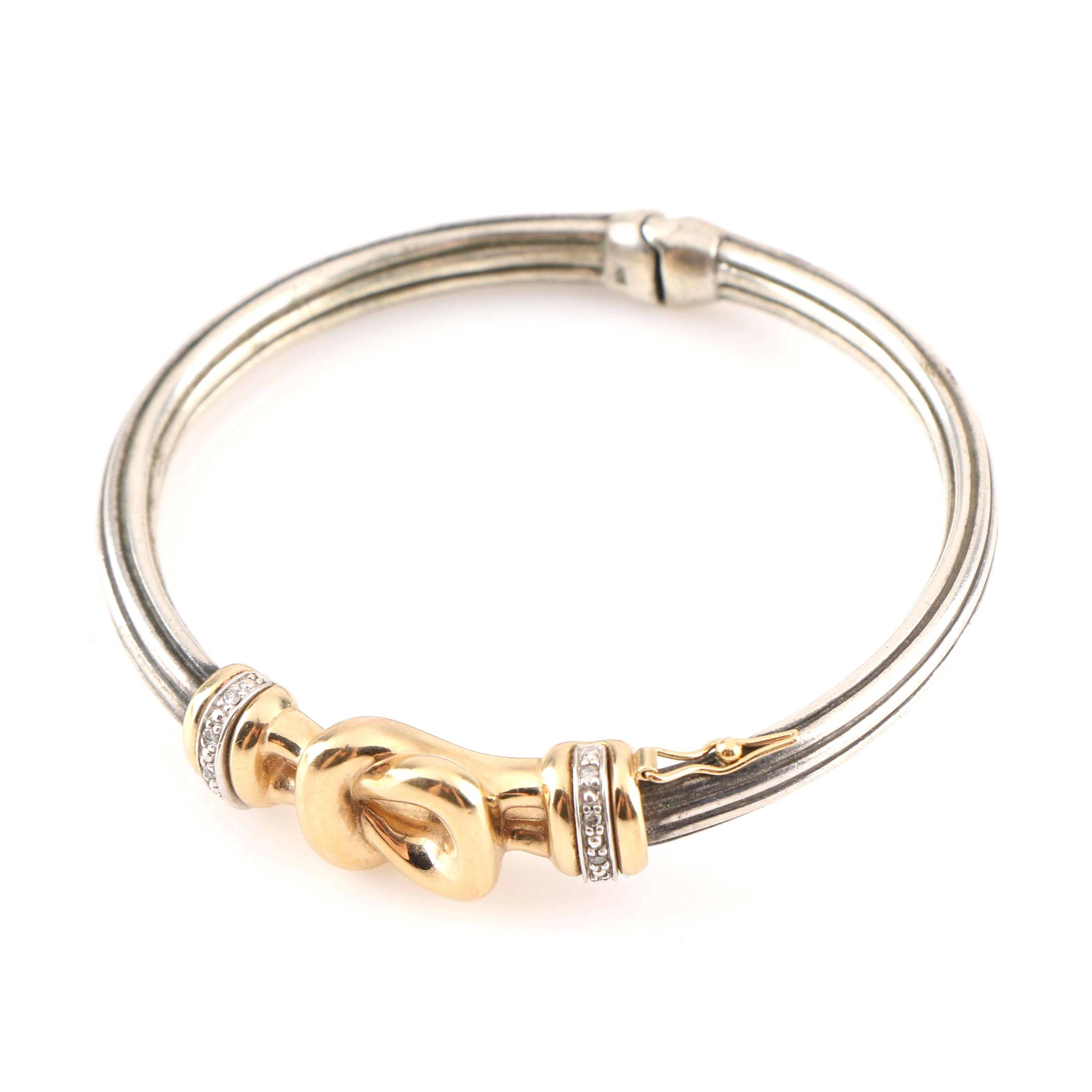 Sterling Silver and 14K Yellow Gold Diamond Bangle Bracelet