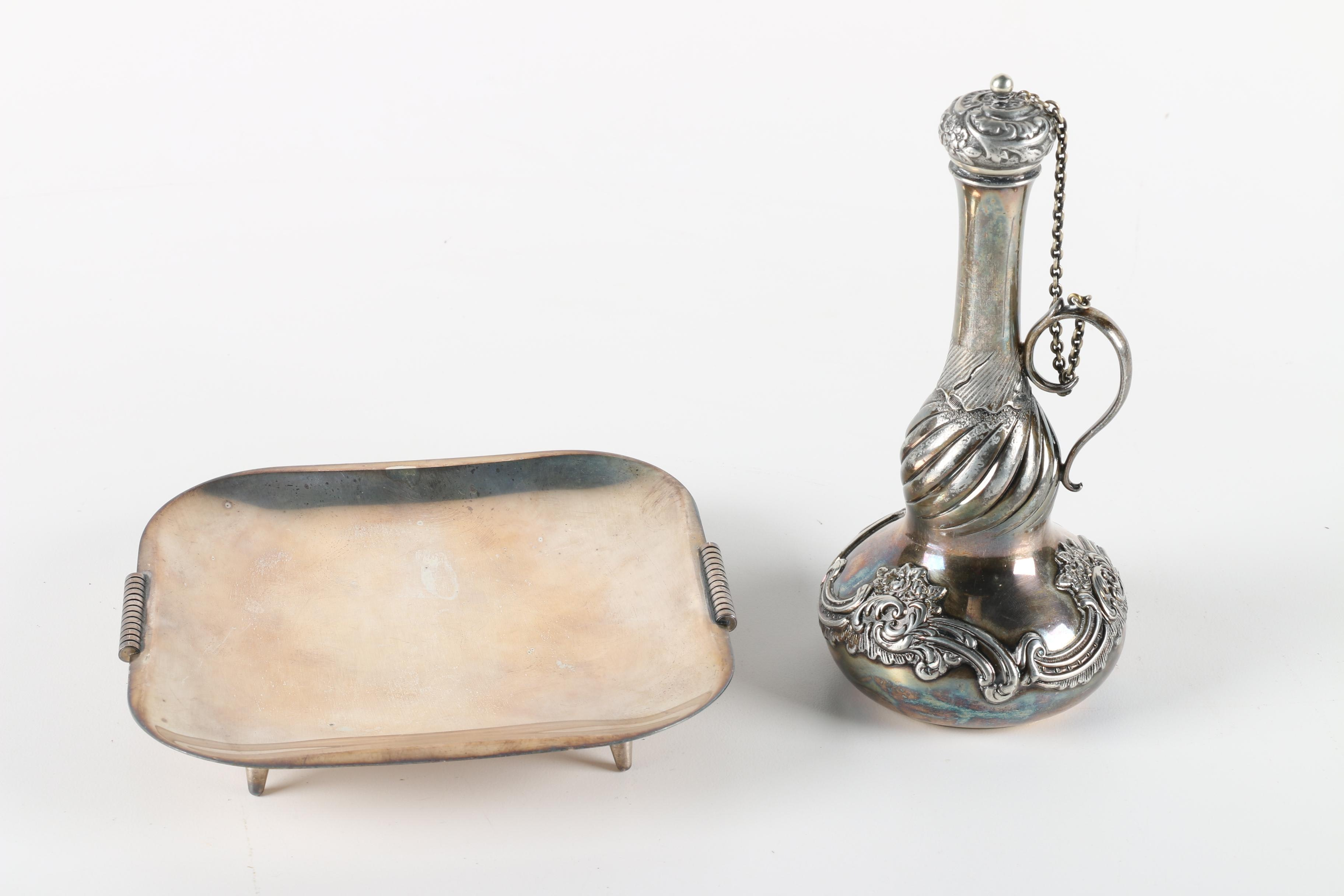 Derby Silver Co. Chased Quadruple Plate Decanter with Israeli Silver Plate Tray