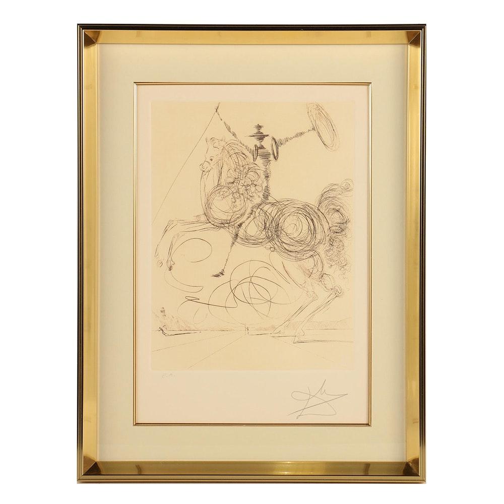 """Salvador Dali Artist Proof Etching """"Don Quixote"""""""