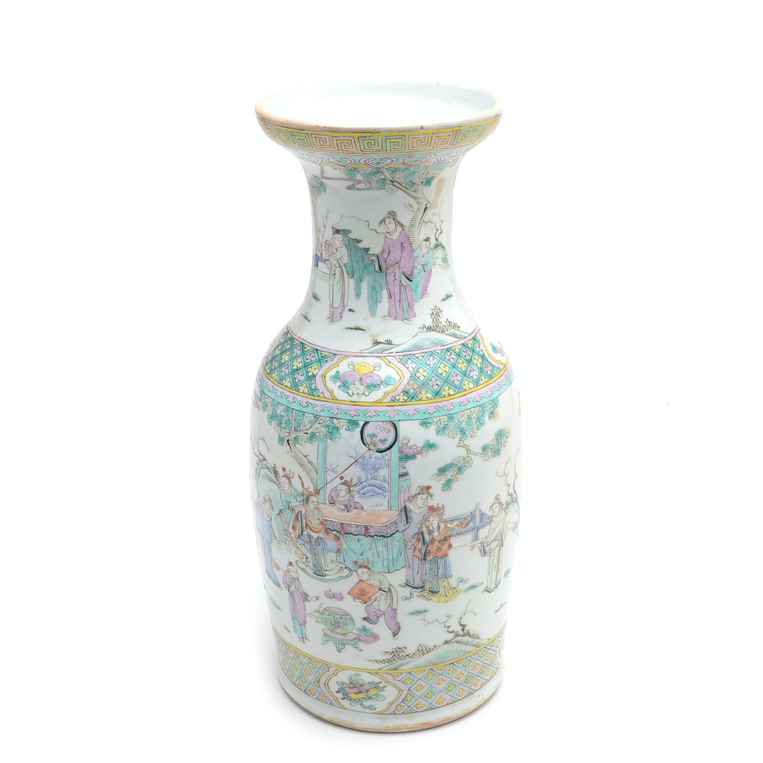 Chinese Hand-Decorated Rose Famille Vase