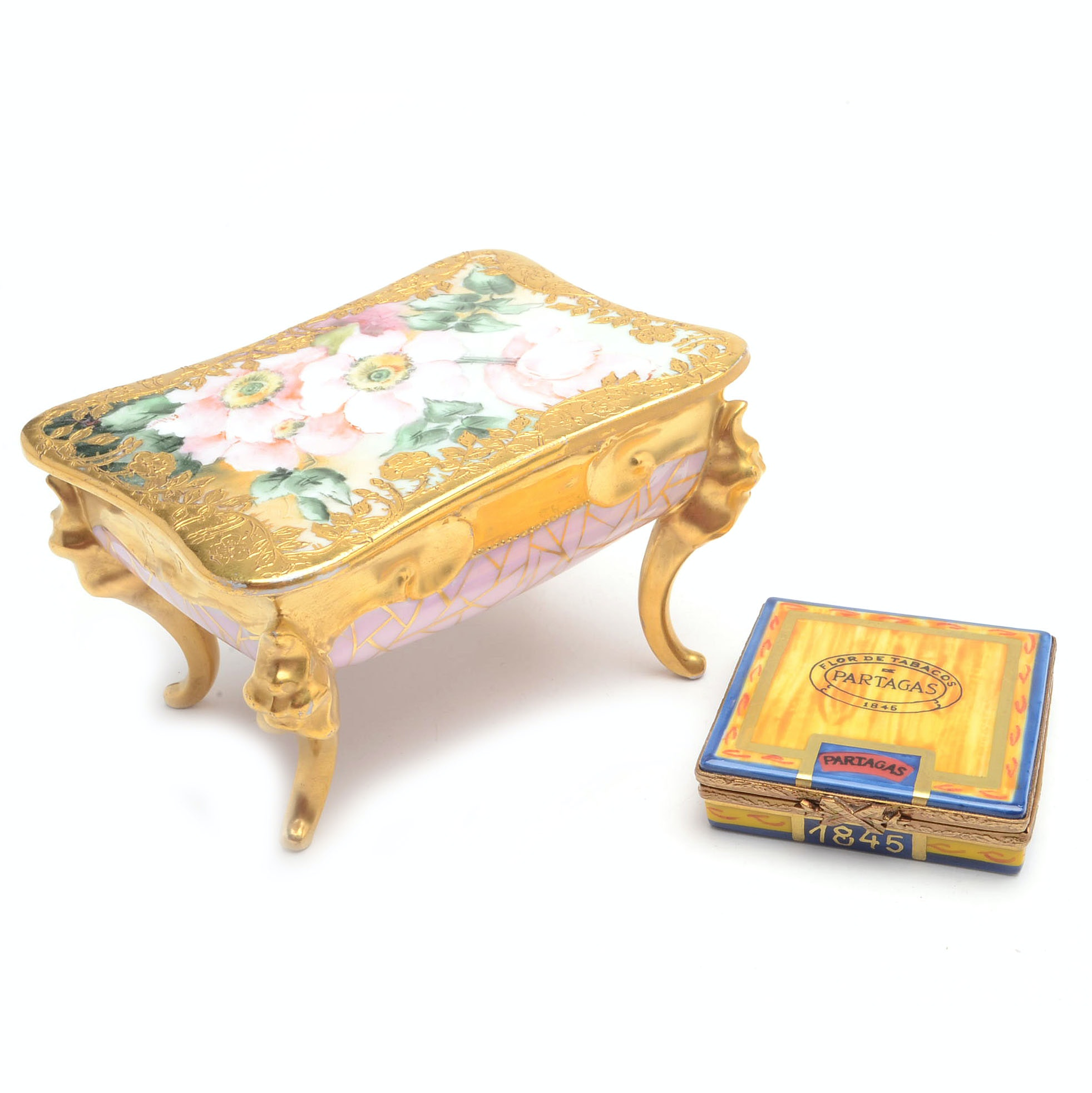 French Hand Painted Porcelain Trinket Boxes Including Limoges