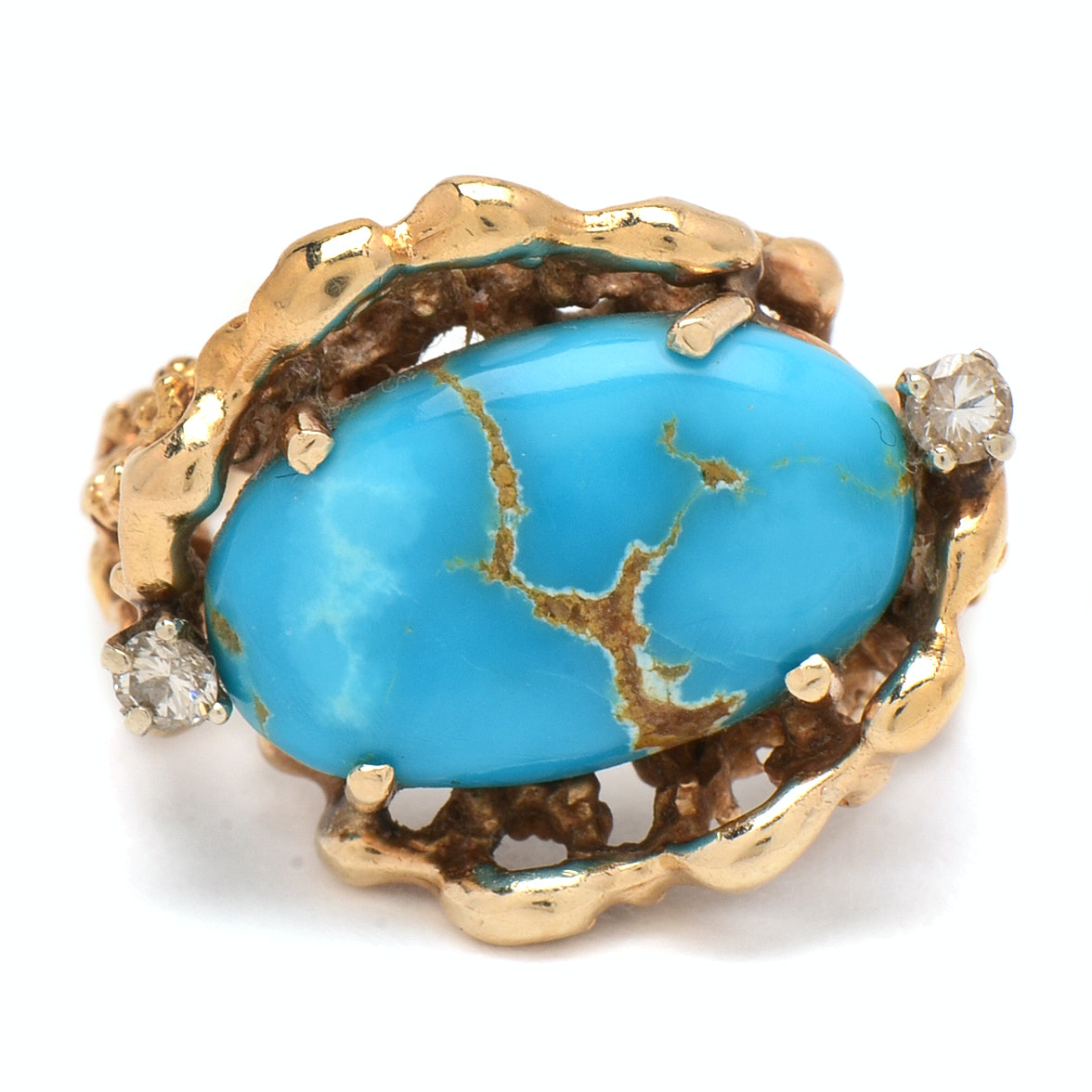 Vintage 14K Yellow Gold, Turquoise and Diamond Ring in an Organic Setting